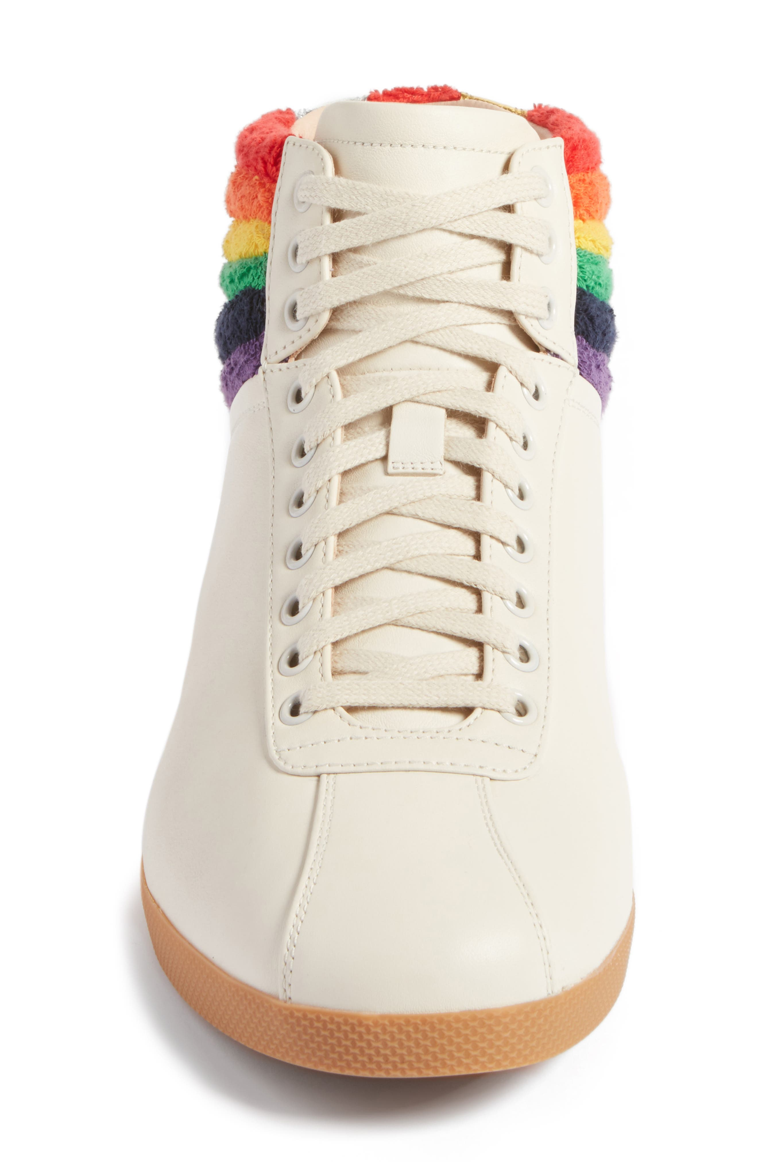 Bambi Rainbow Terry High Top Sneaker,                             Alternate thumbnail 4, color,