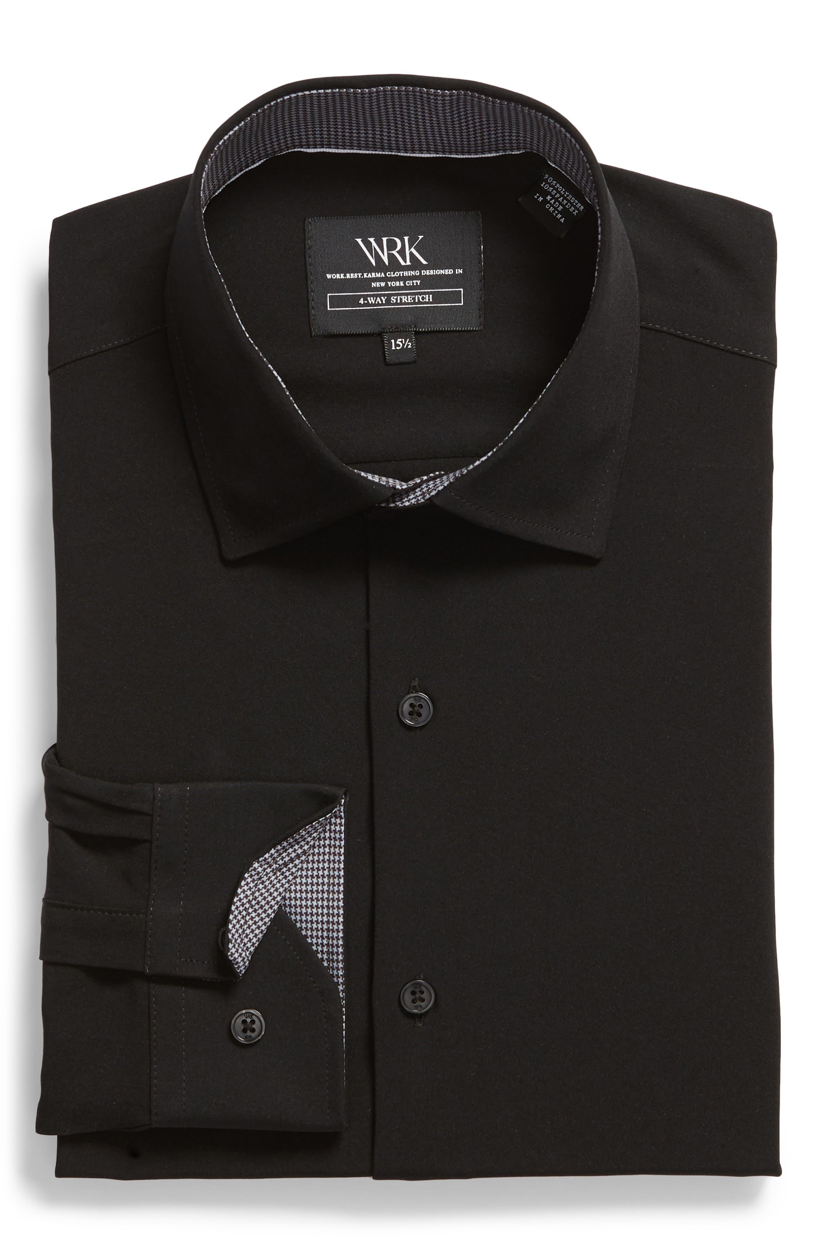 Trim Fit Stretch Solid Dress Shirt,                             Alternate thumbnail 5, color,                             BLACK