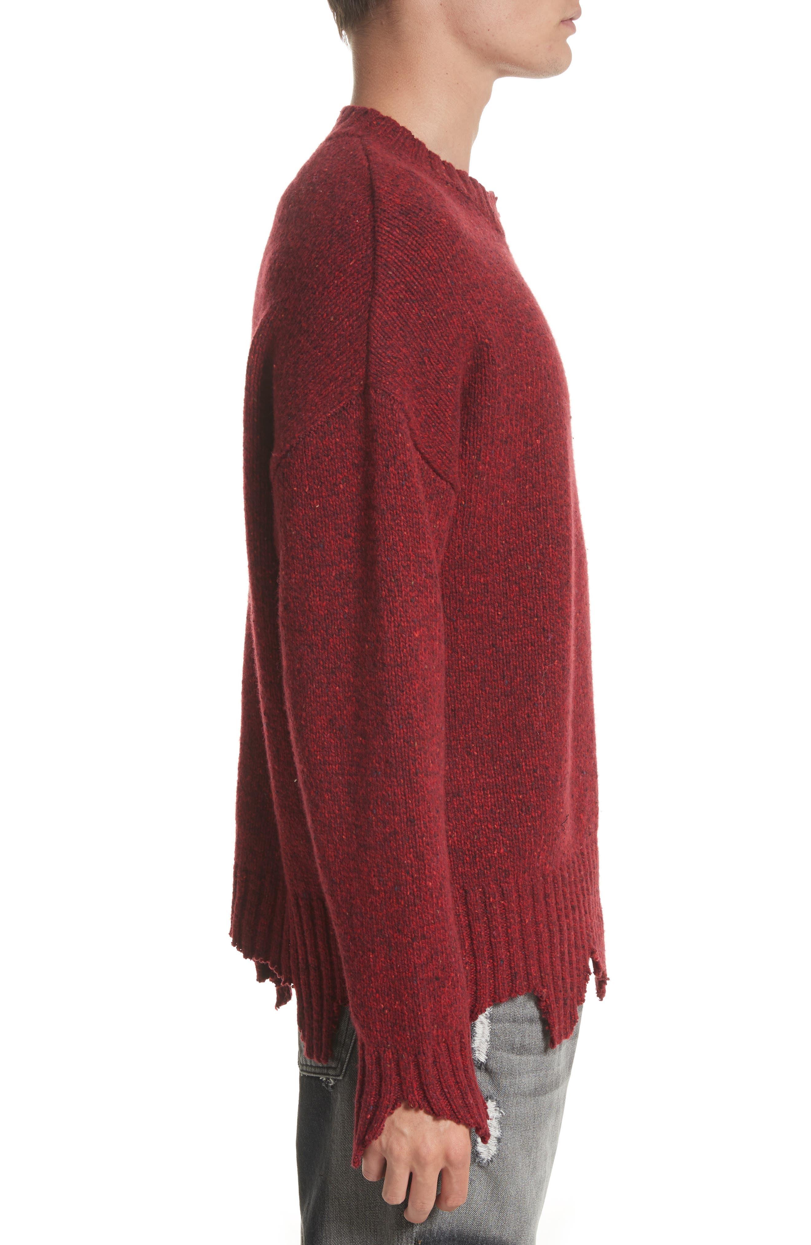 Destroyed Crewneck Sweater,                             Alternate thumbnail 3, color,                             600