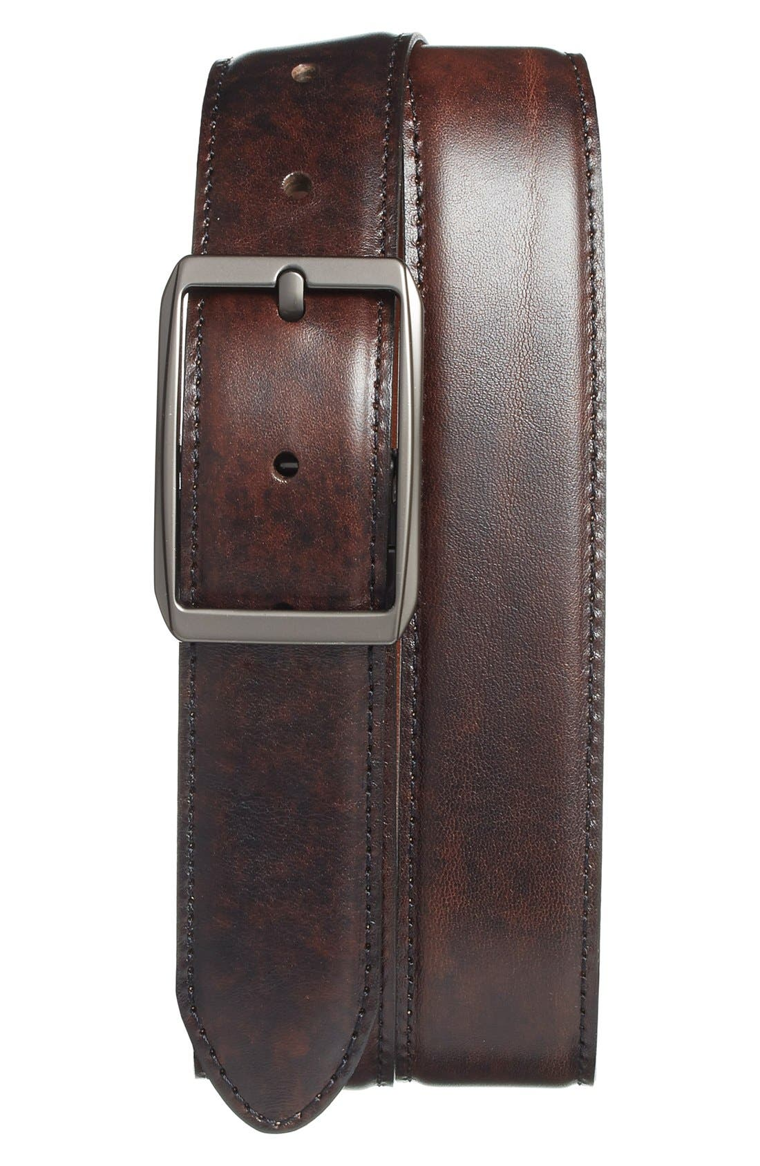 Reversible Leather Belt,                         Main,                         color, DARK BROWN/ TAN