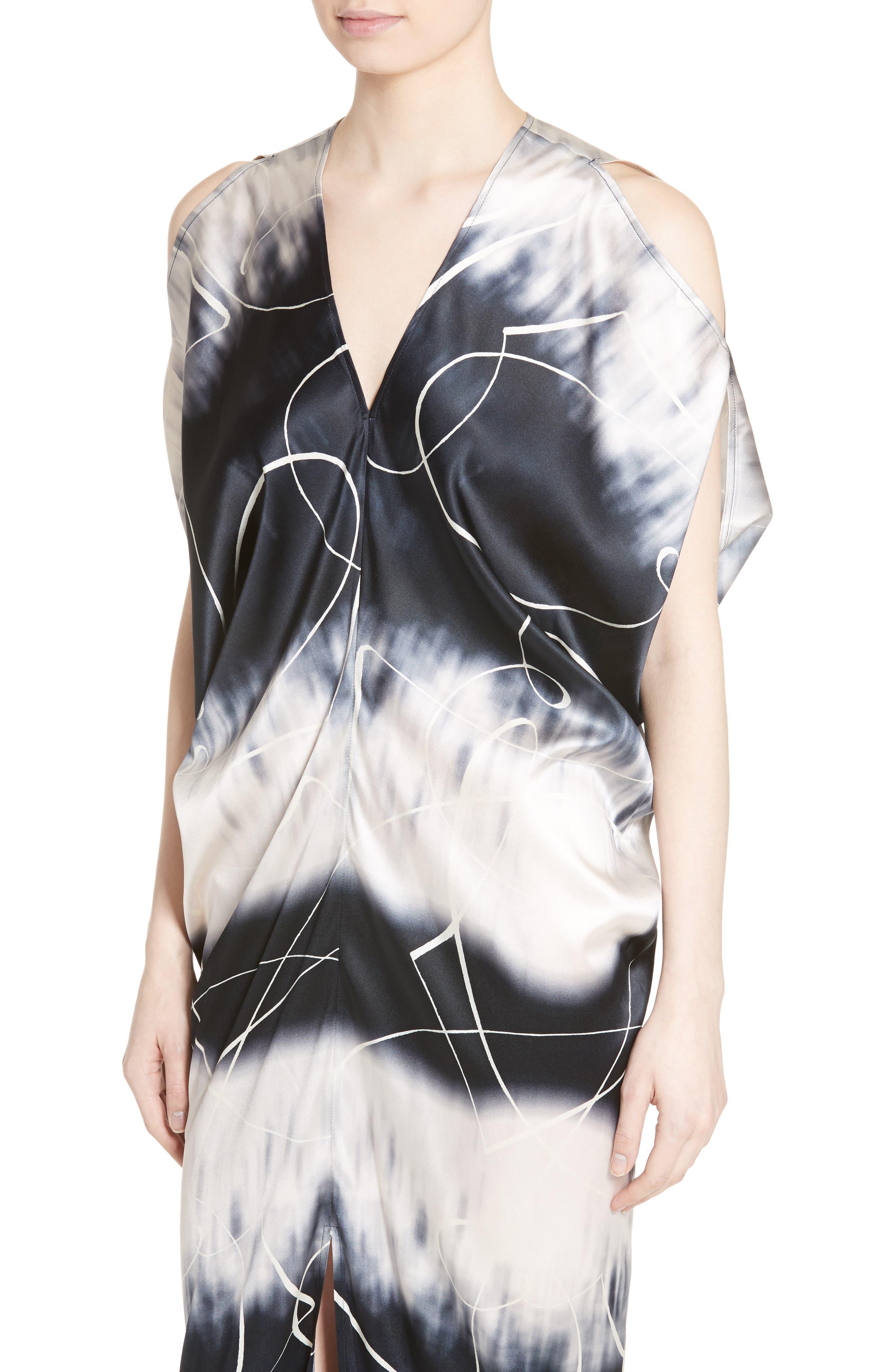 Kou Elliott X-Ray Stretch Silk Dress,                             Alternate thumbnail 4, color,                             100