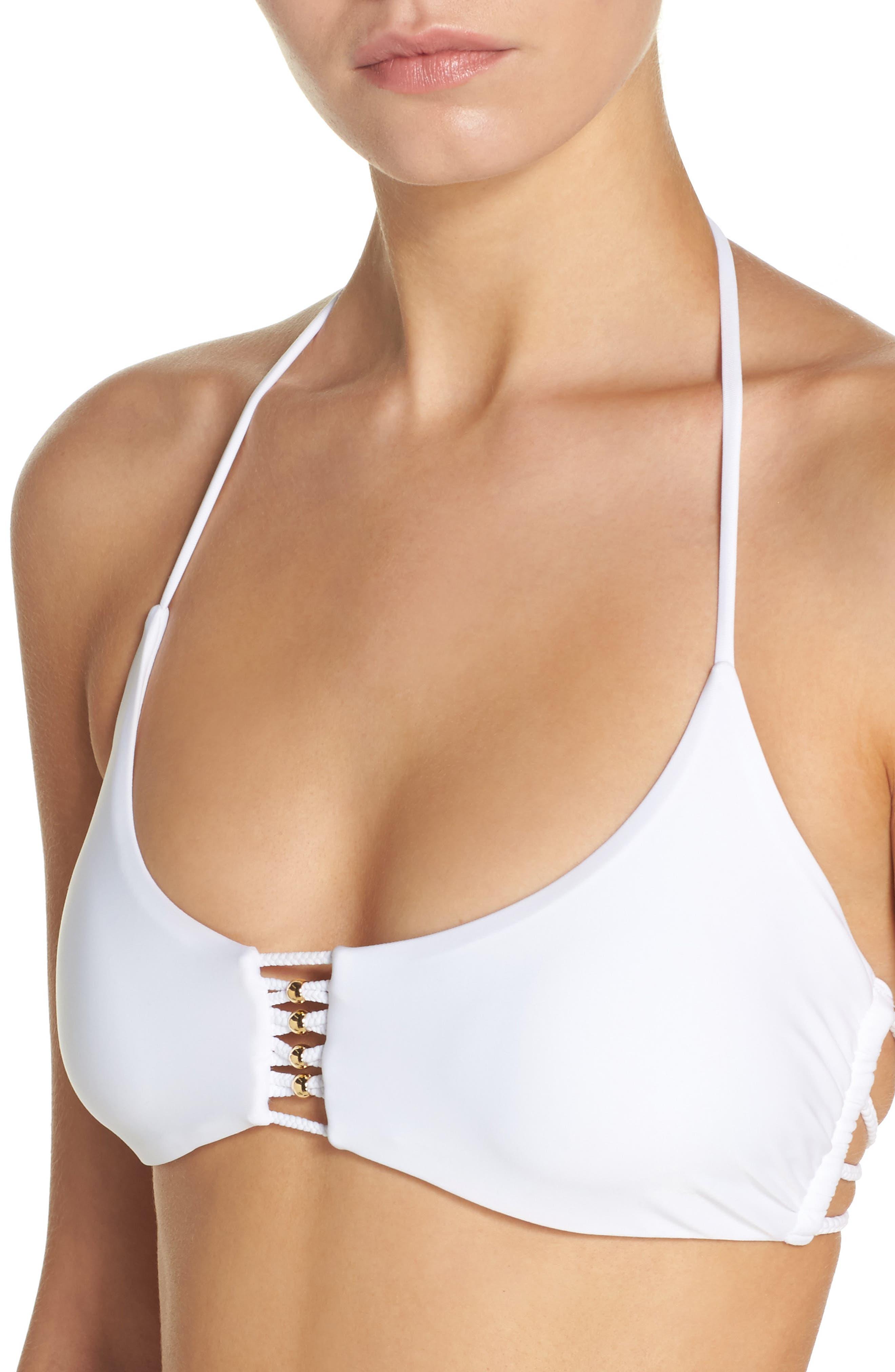 Braided Halter Bikini Top,                             Alternate thumbnail 4, color,                             100