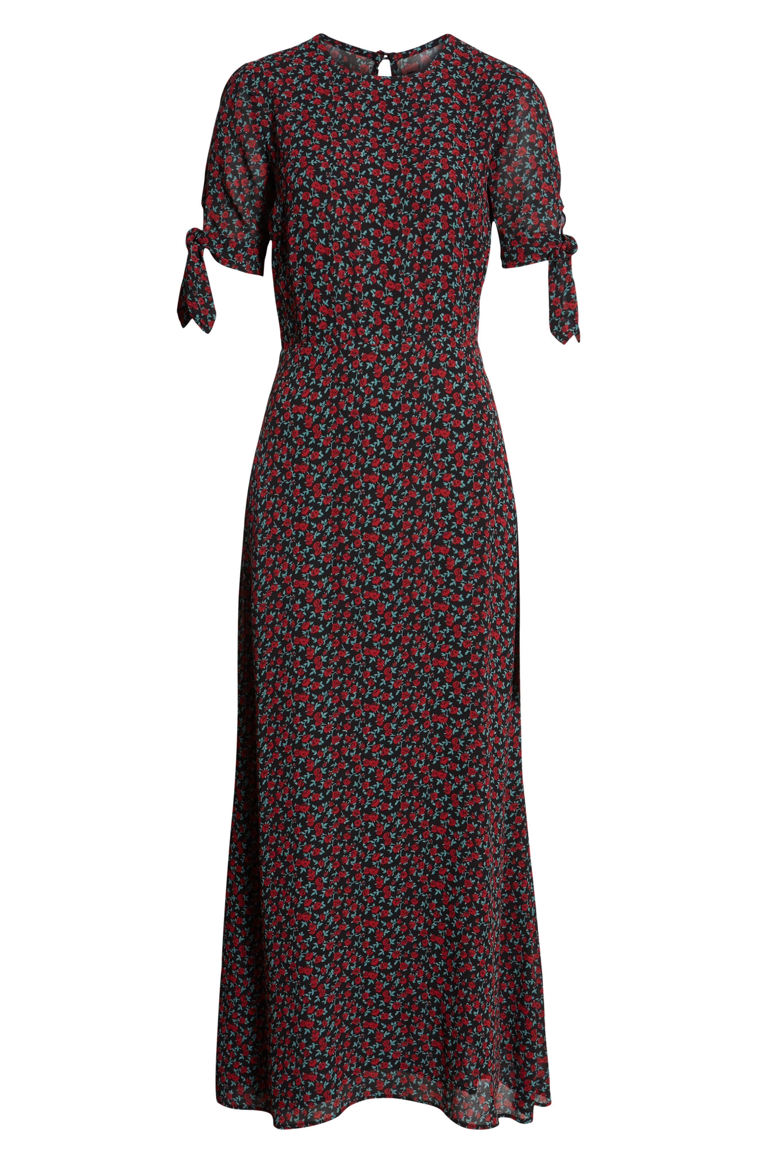 Amsterdam Tie Sleeve Body-Con Maxi Dress,                             Alternate thumbnail 4, color,                             001