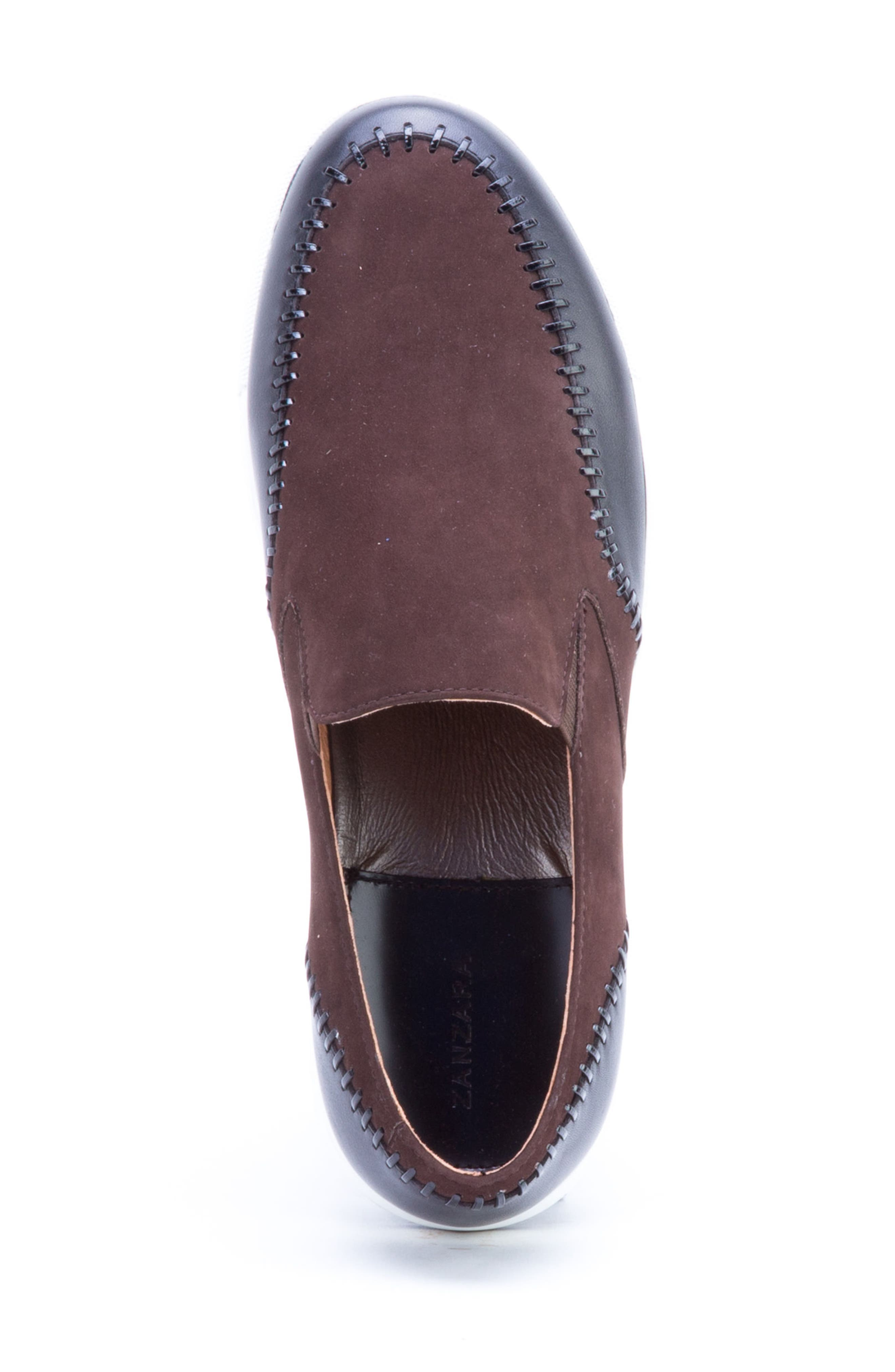 Caravaggio Whipstitched Slip-On Sneaker,                             Alternate thumbnail 5, color,                             BROWN SUEDE/ LEATHER