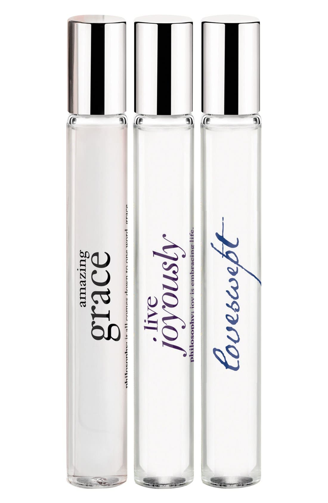 'live with grace & love' rollerball trio,                             Main thumbnail 1, color,                             000