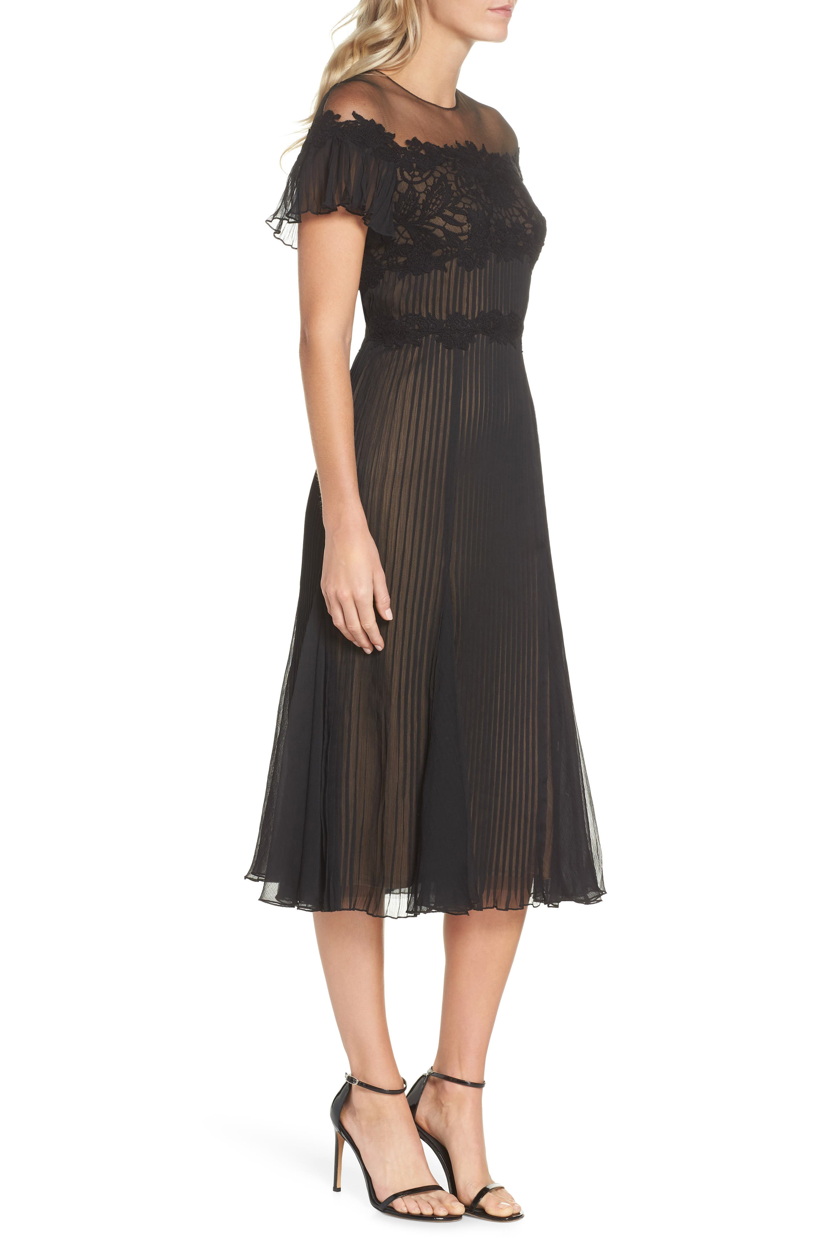 TADASHI SHOJI,                             Lace & Chiffon A-Line Dress,                             Alternate thumbnail 3, color,                             BLACK/ NUDE