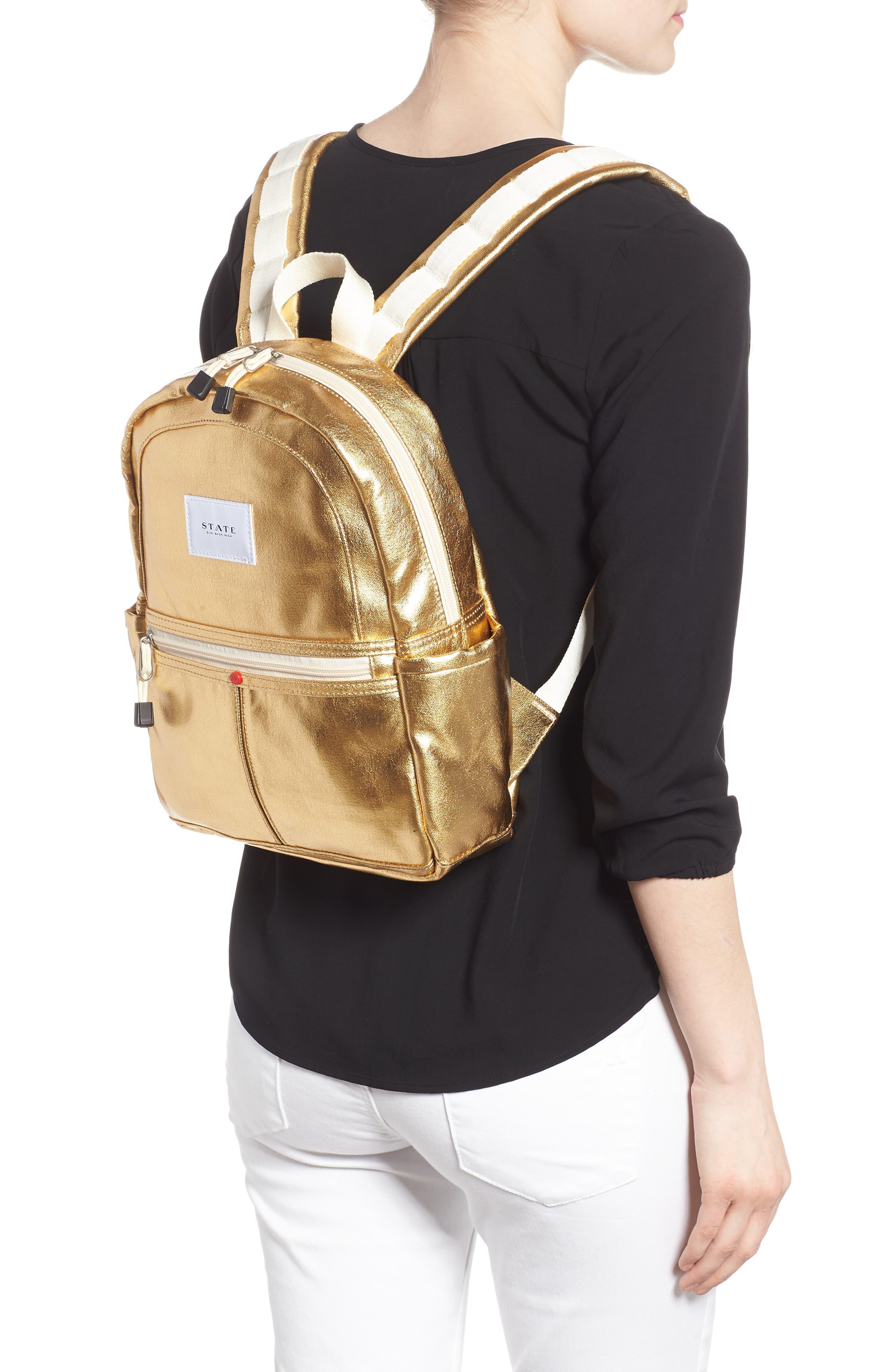 Downtown Mini Kane Metallic Backpack,                             Alternate thumbnail 2, color,                             GOLD