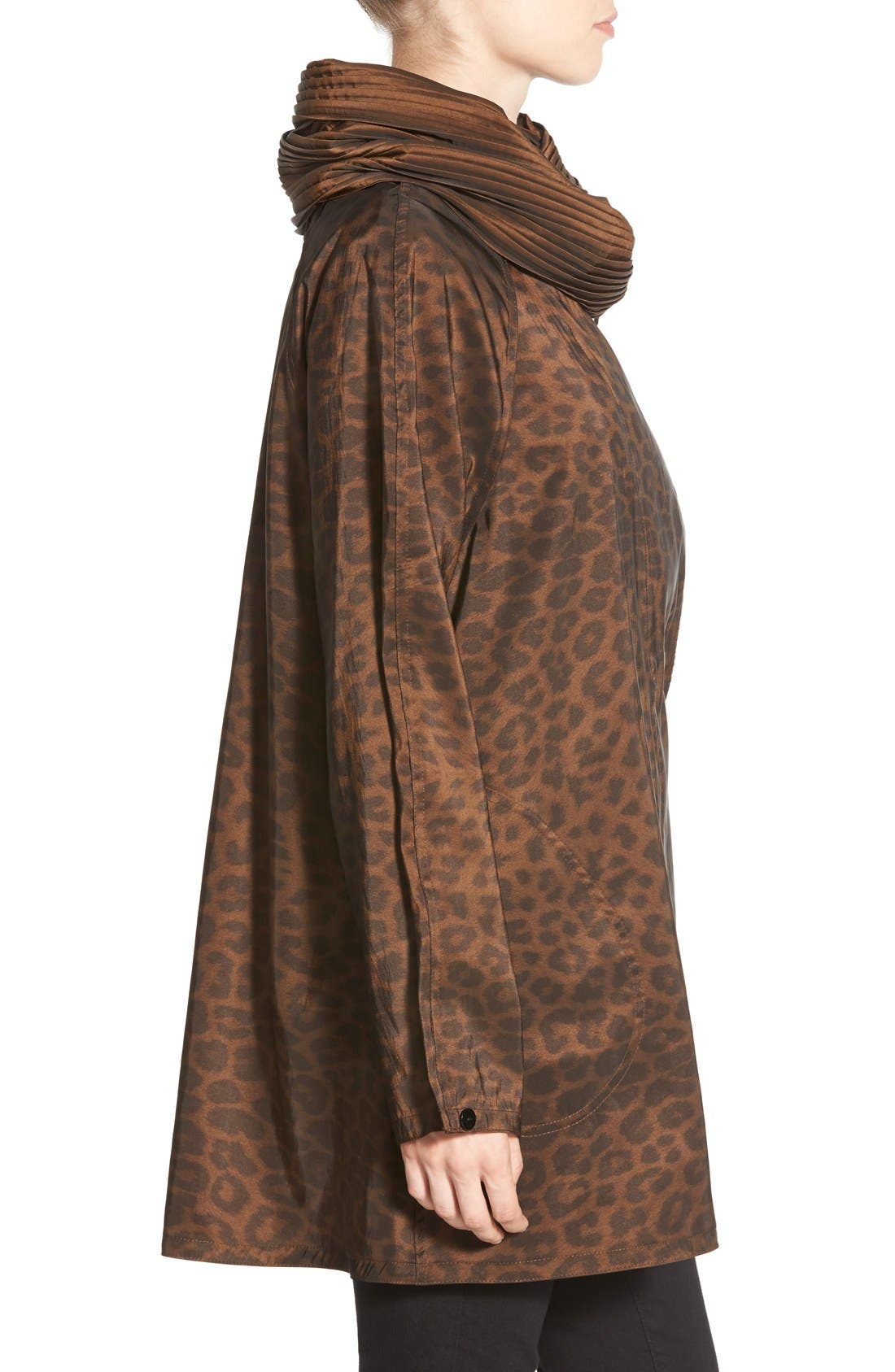 'Mini Donatella Leopard' Reversible Pleat Hood Packable Travel Coat,                             Alternate thumbnail 12, color,                             202