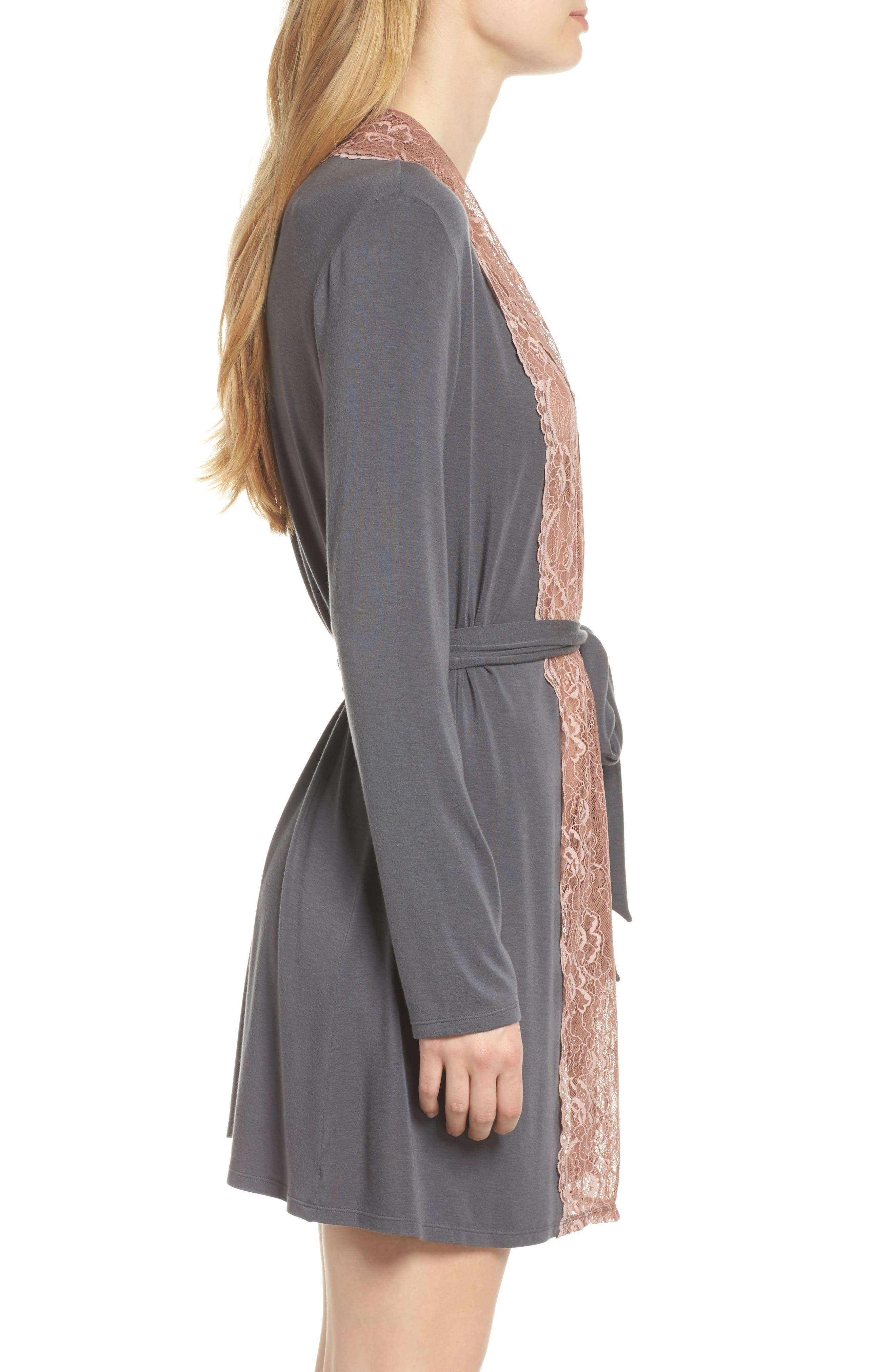 Lace Trim Robe,                             Alternate thumbnail 3, color,                             SLATE WITH JAVA LACE