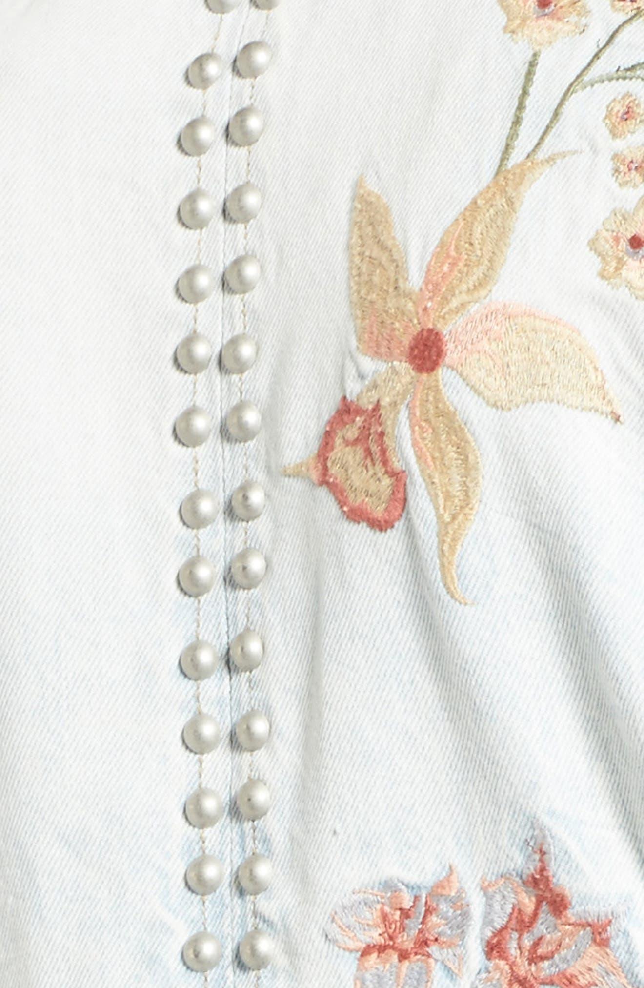 Embroidered Denim Moto Jacket,                             Alternate thumbnail 5, color,                             400