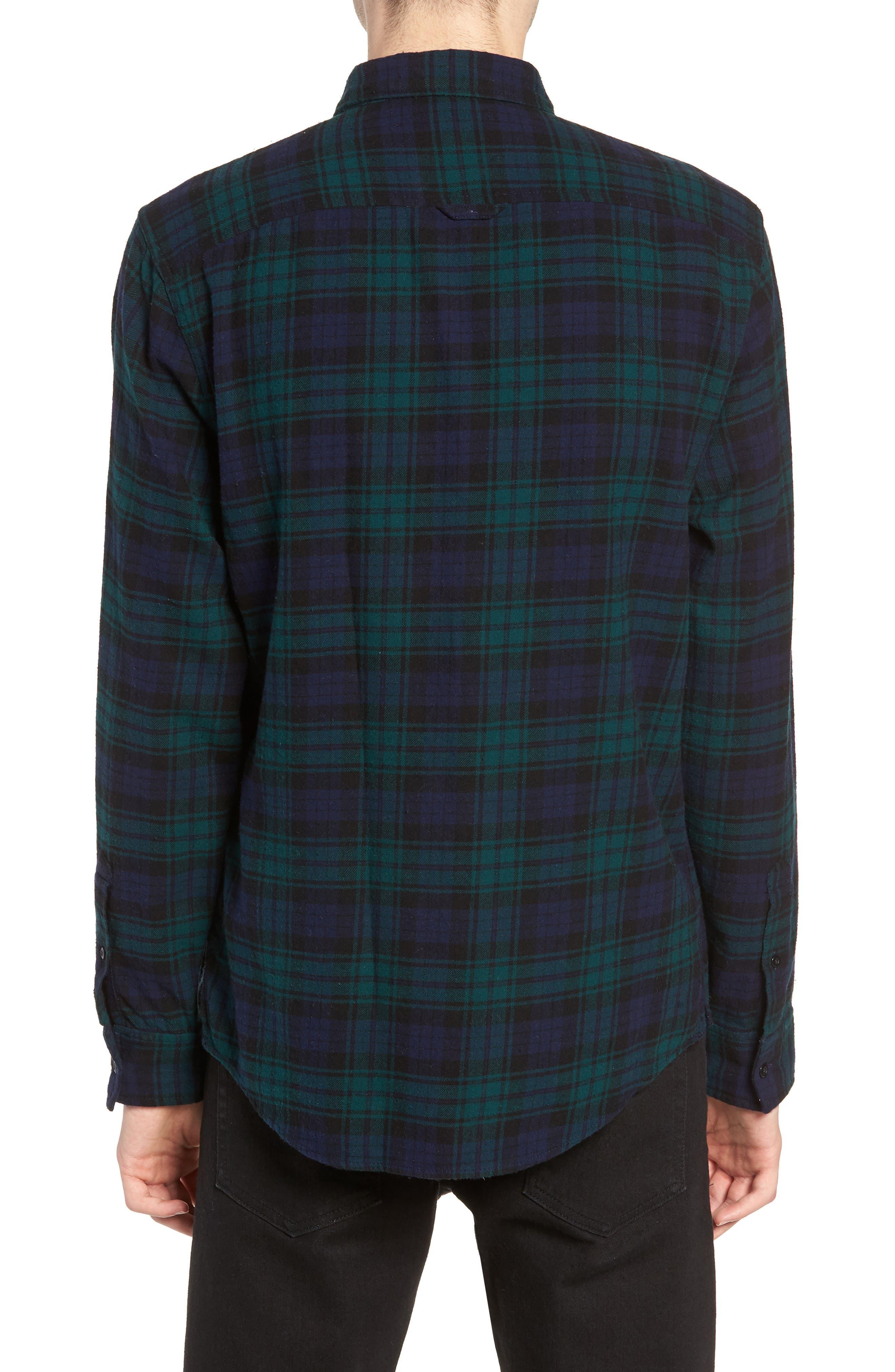 Flannel Shirt,                             Alternate thumbnail 2, color,                             BLUE GREEN CLASSIC PLAID