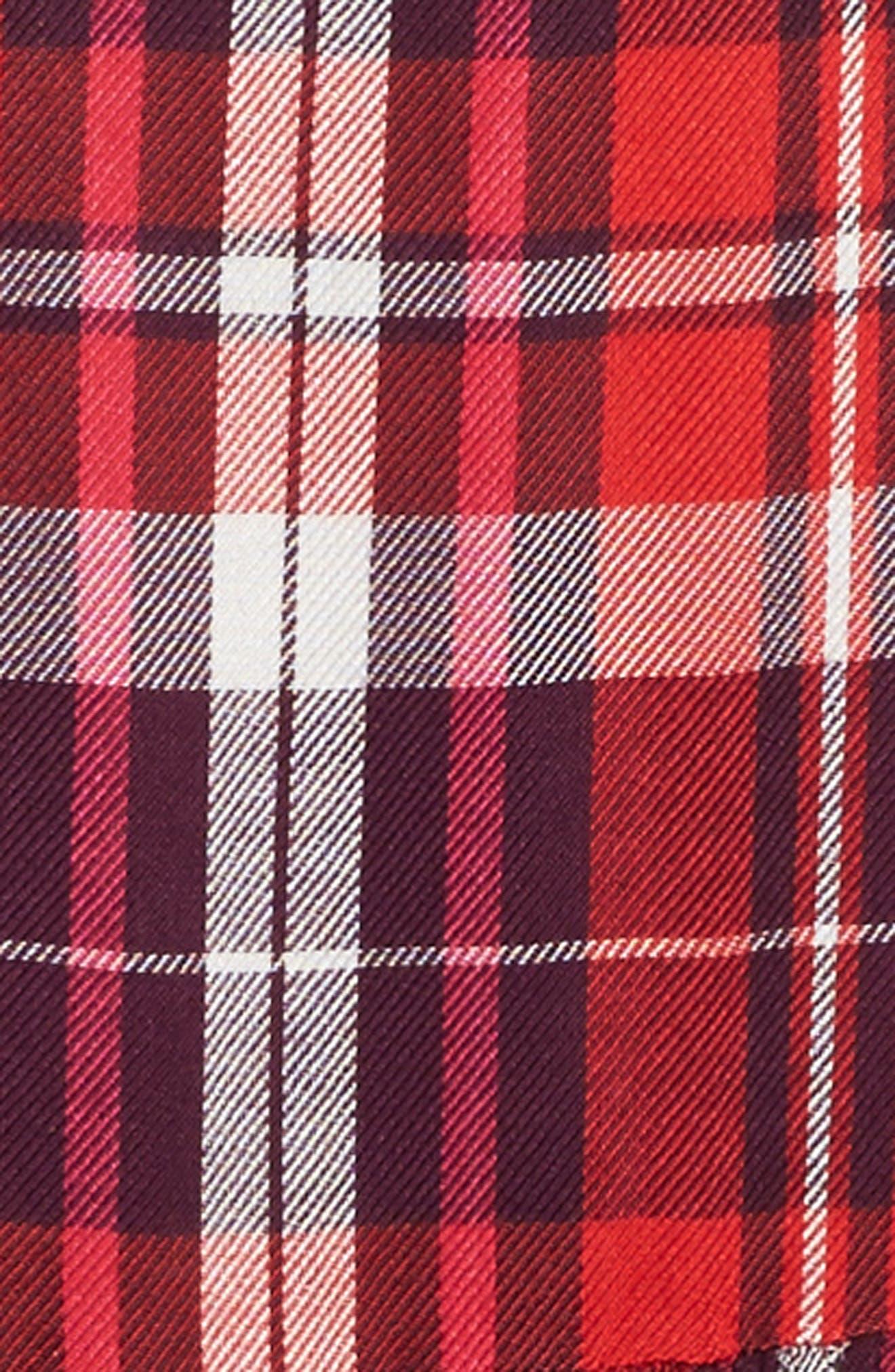 Plaid Flutter Sleeve Dress,                             Alternate thumbnail 3, color,                             610