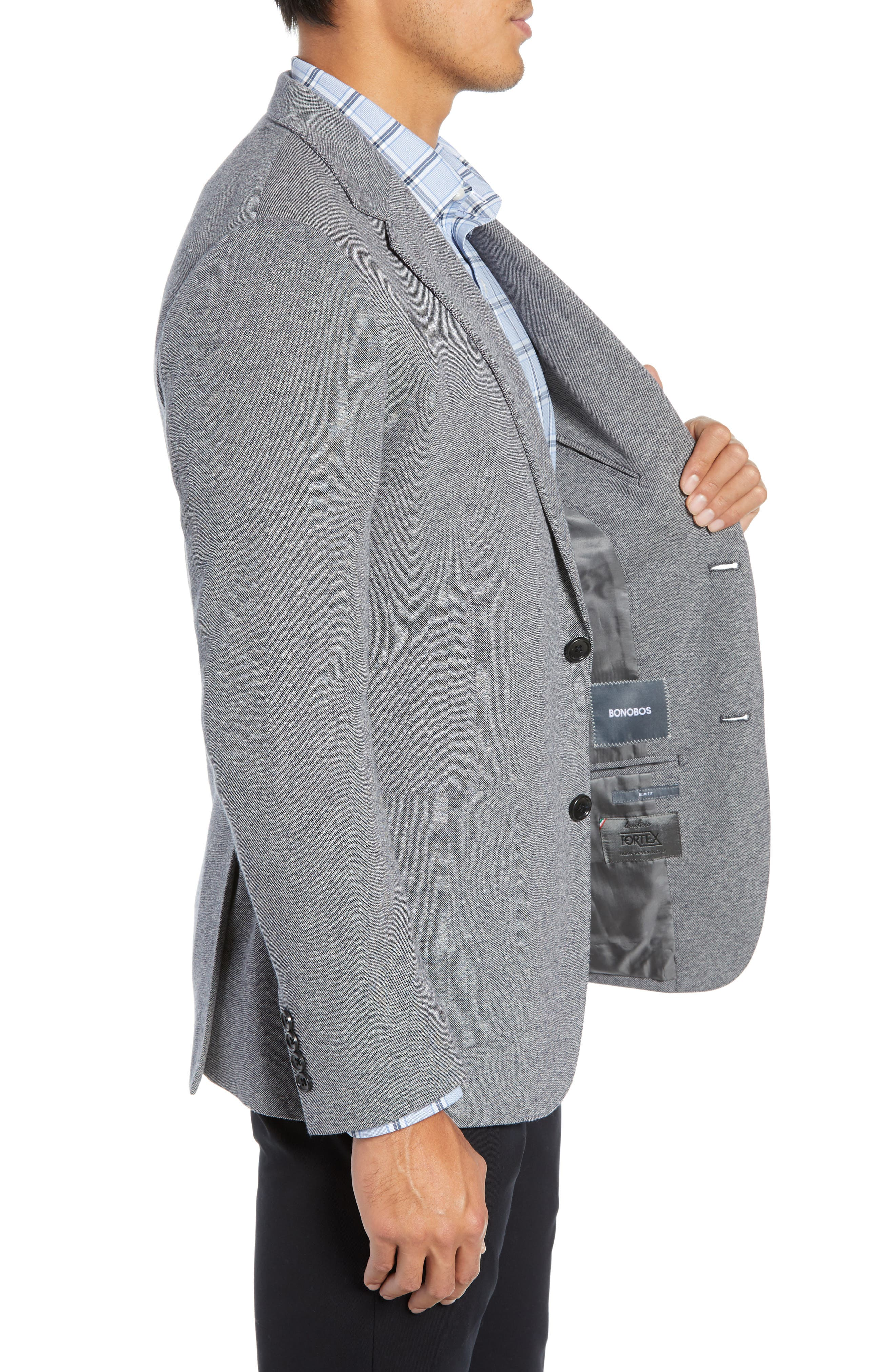 Jetsetter Trim Fit Knit Cotton Sport Coat,                             Alternate thumbnail 3, color,                             LIGHT GREY