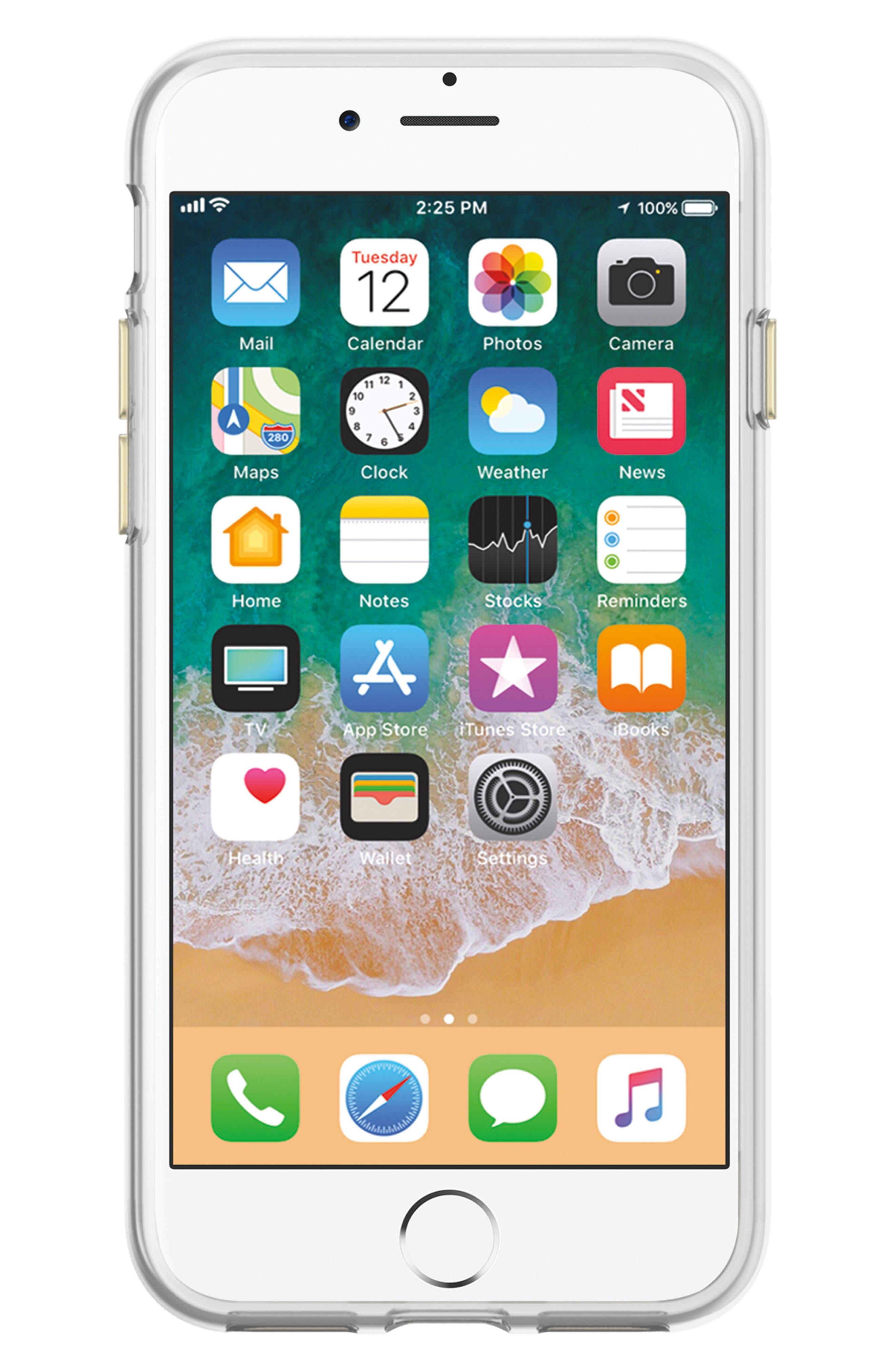 Flower Stud iPhone 7/8 & 7/8 Plus Case,                             Alternate thumbnail 3, color,                             ROSE GOLD/ GOLD STUDS