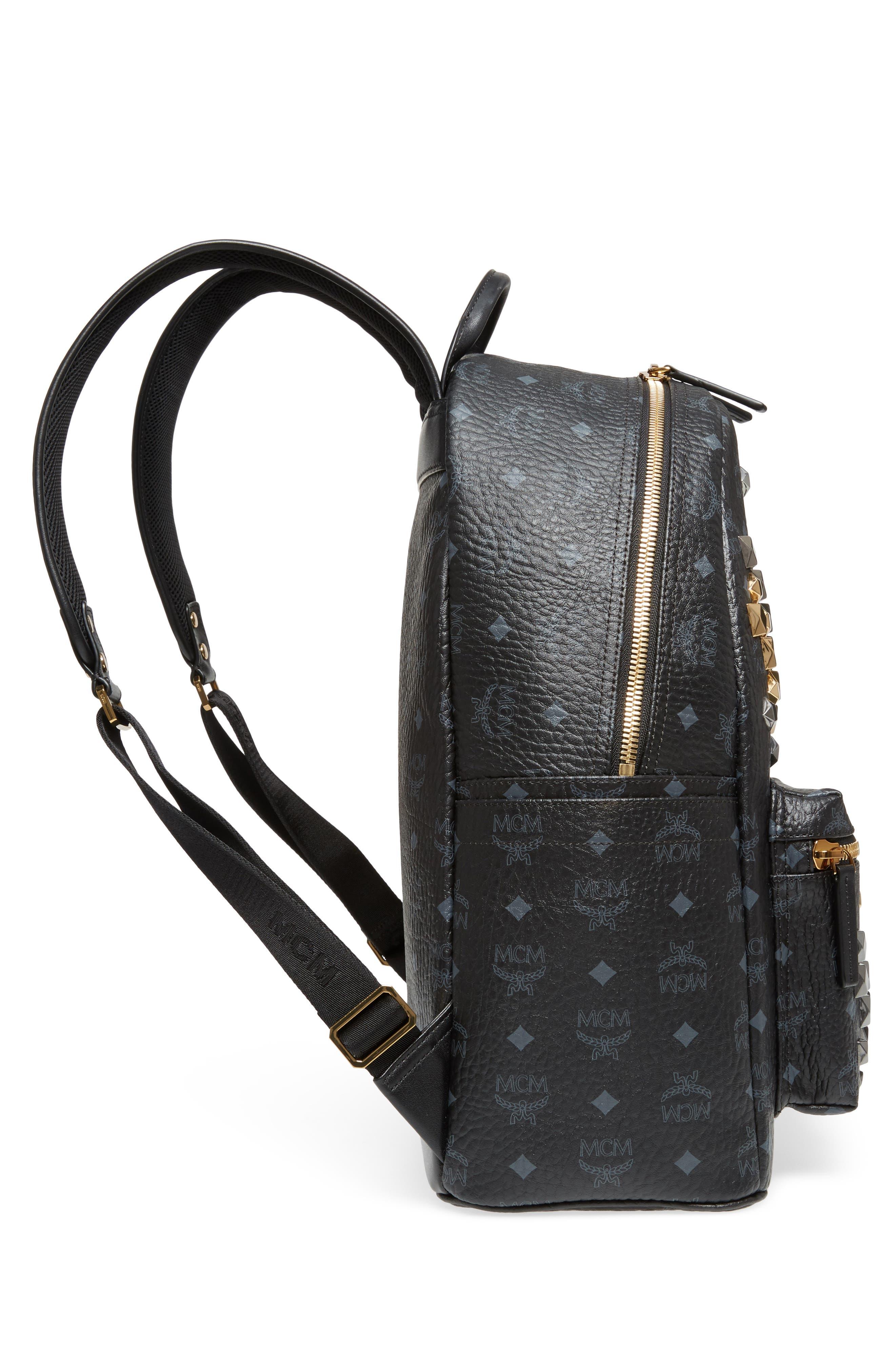 MCM,                             Medium Stark - Visetos Studded Logo Backpack,                             Alternate thumbnail 5, color,                             BLACK