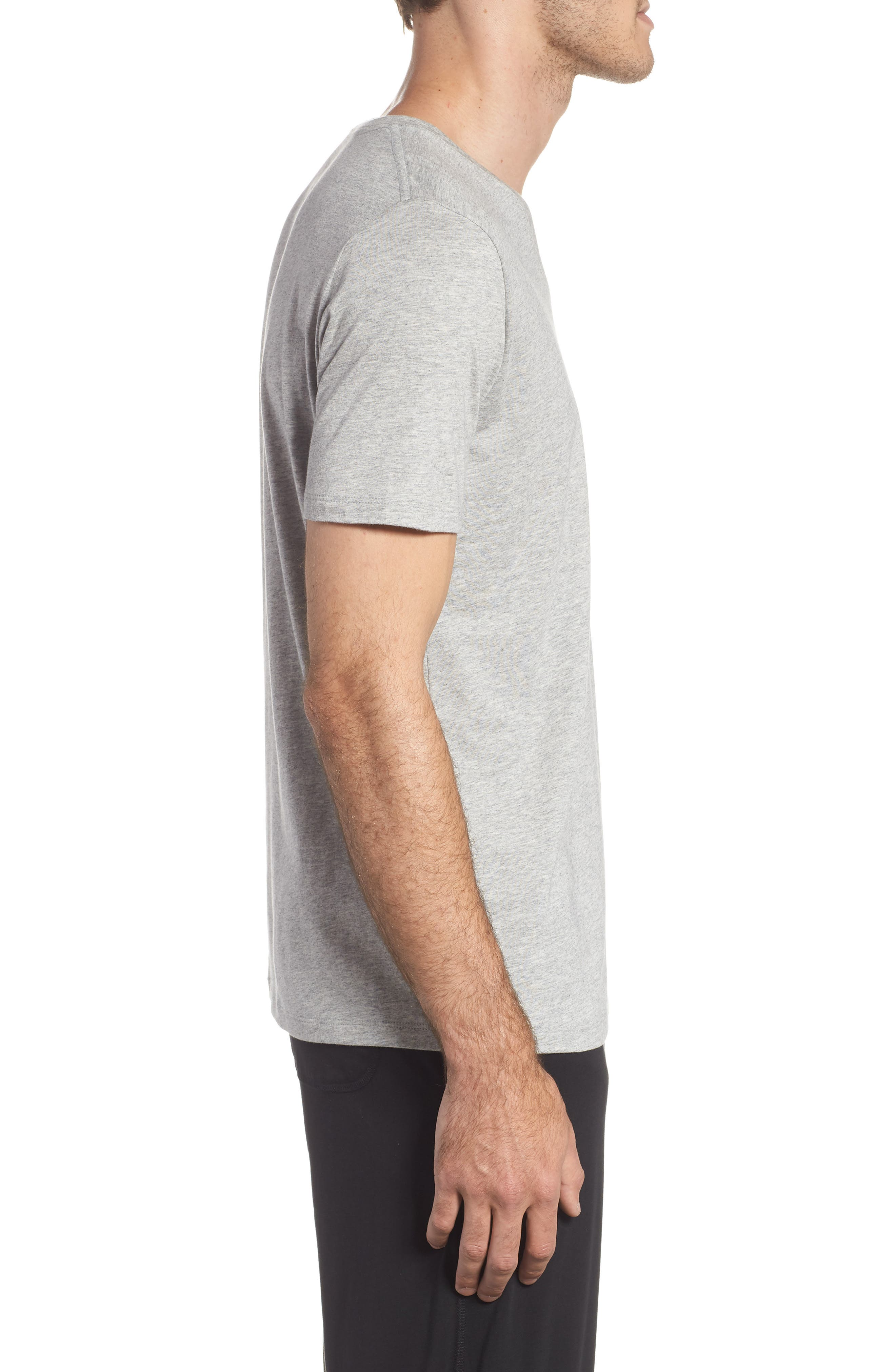 Second Skin V-Neck T-Shirt,                             Alternate thumbnail 3, color,                             HEATHER GREY