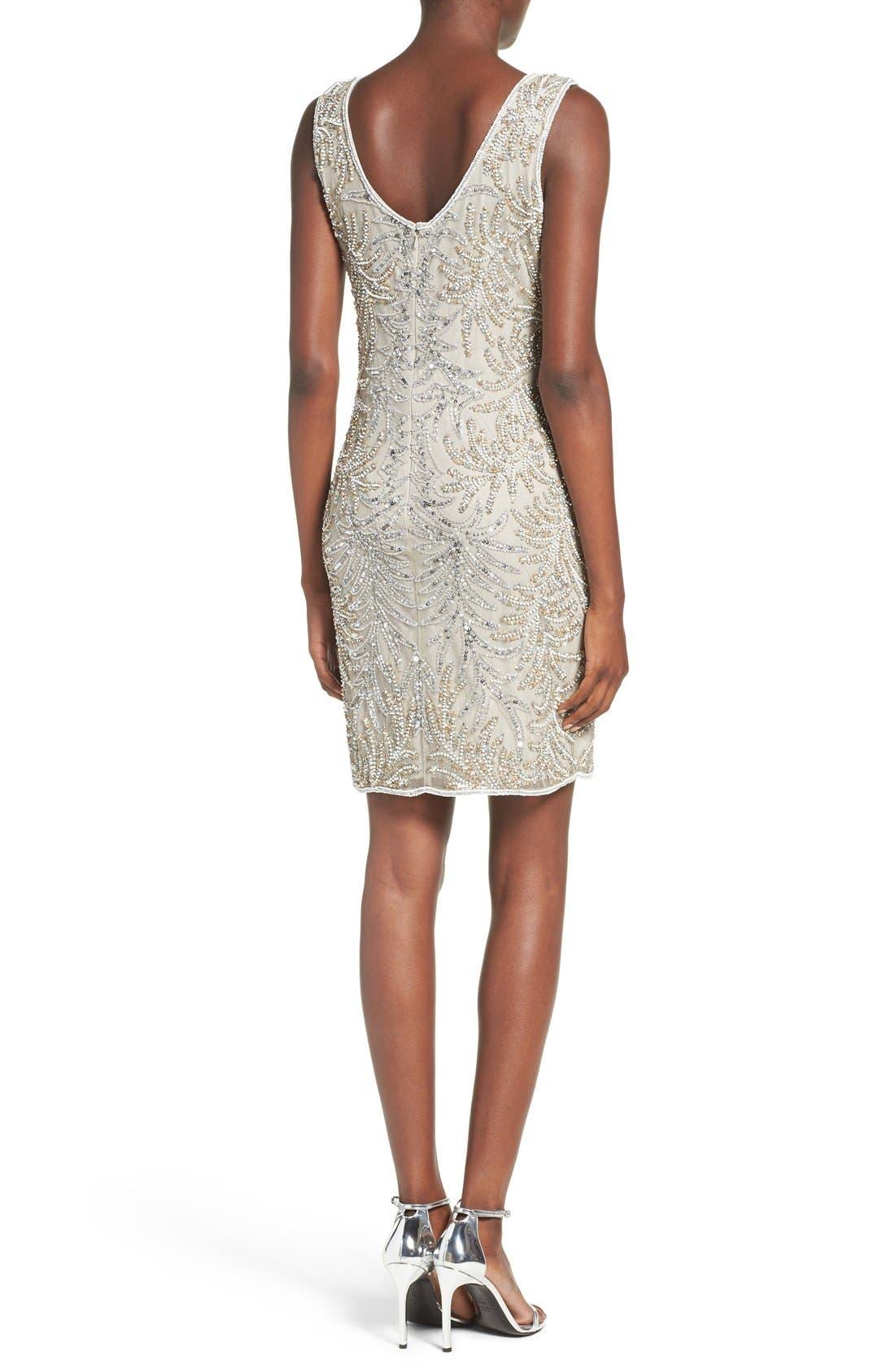 Embellished Mesh Sheath Dress,                             Alternate thumbnail 2, color,                             040
