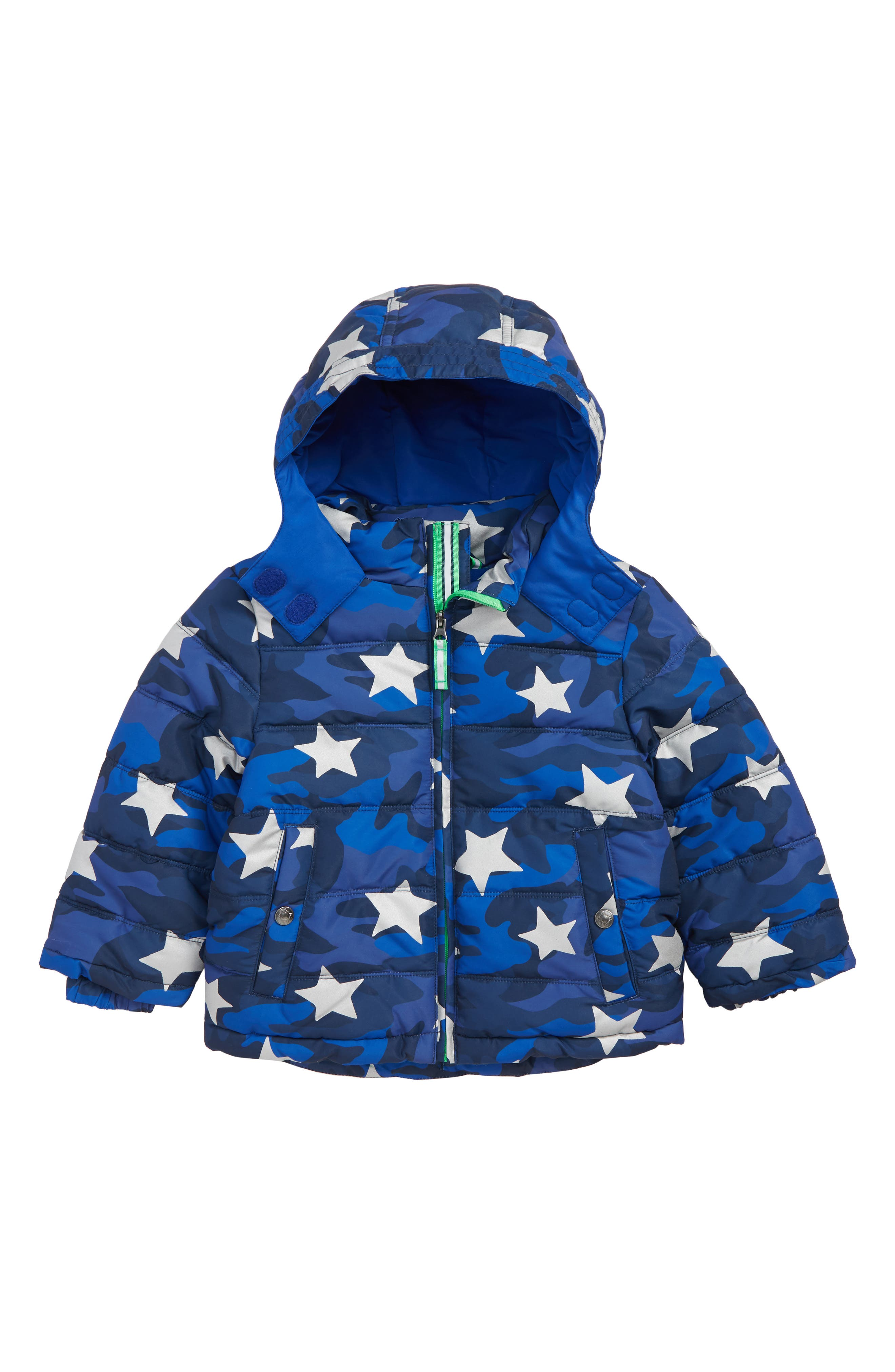 MINI BODEN High Visibility Water Resistant Quilted Coat, Main, color, BLUE SCHOOL NAVY CAMO STAR