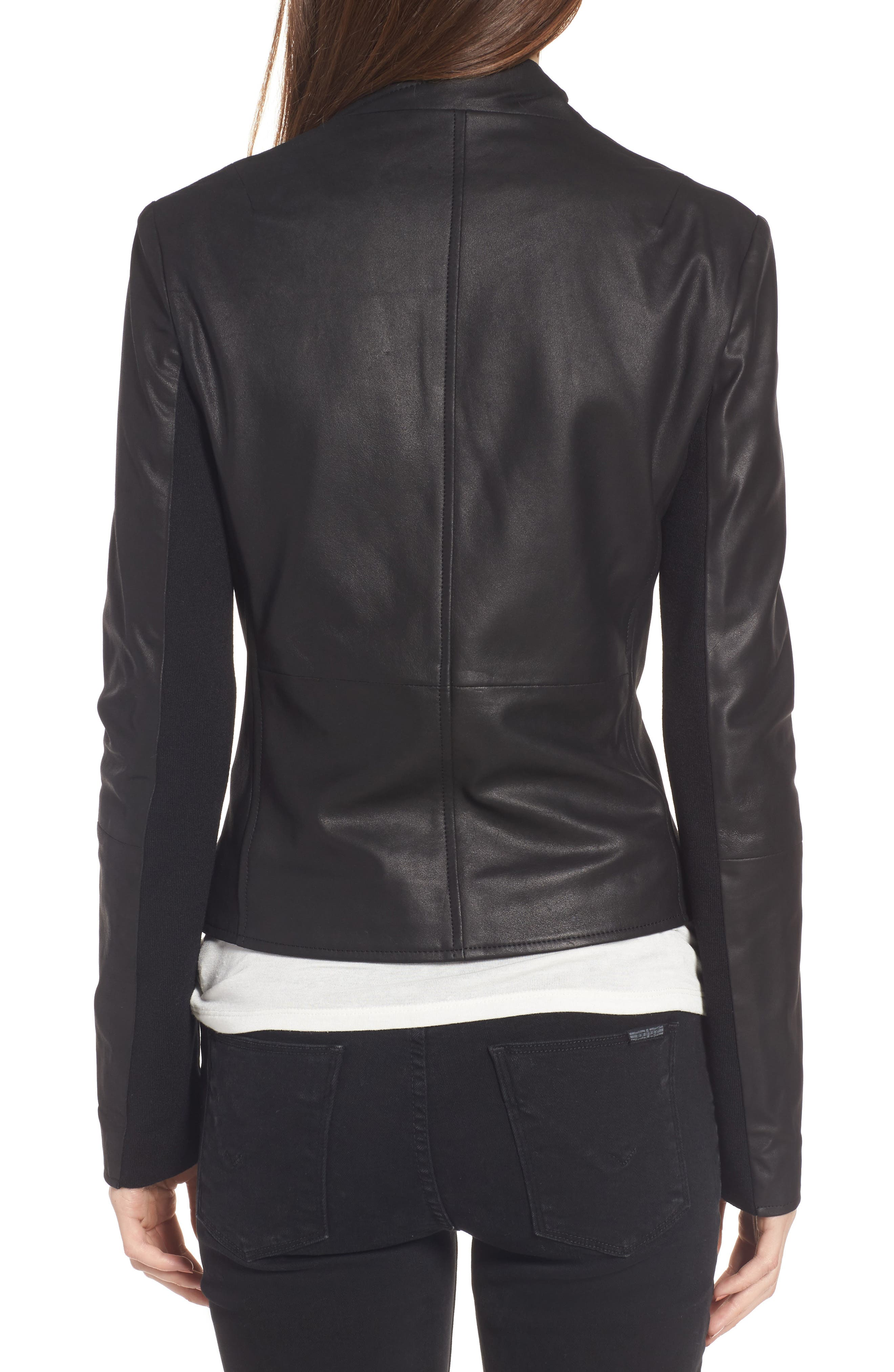 Cascade Leather Jacket,                             Alternate thumbnail 2, color,                             001