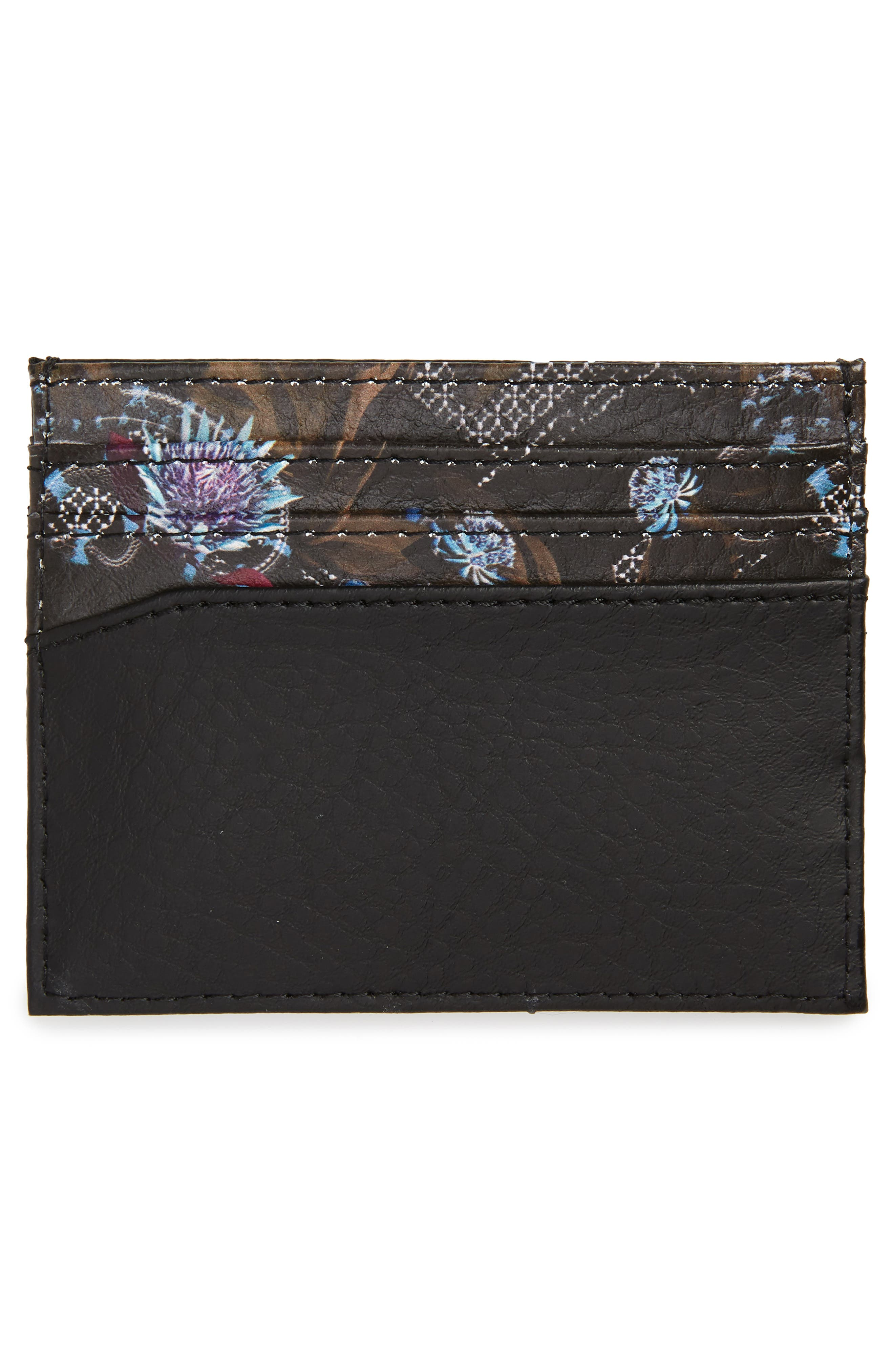 Print Leather Card Case,                             Alternate thumbnail 2, color,                             NAVY