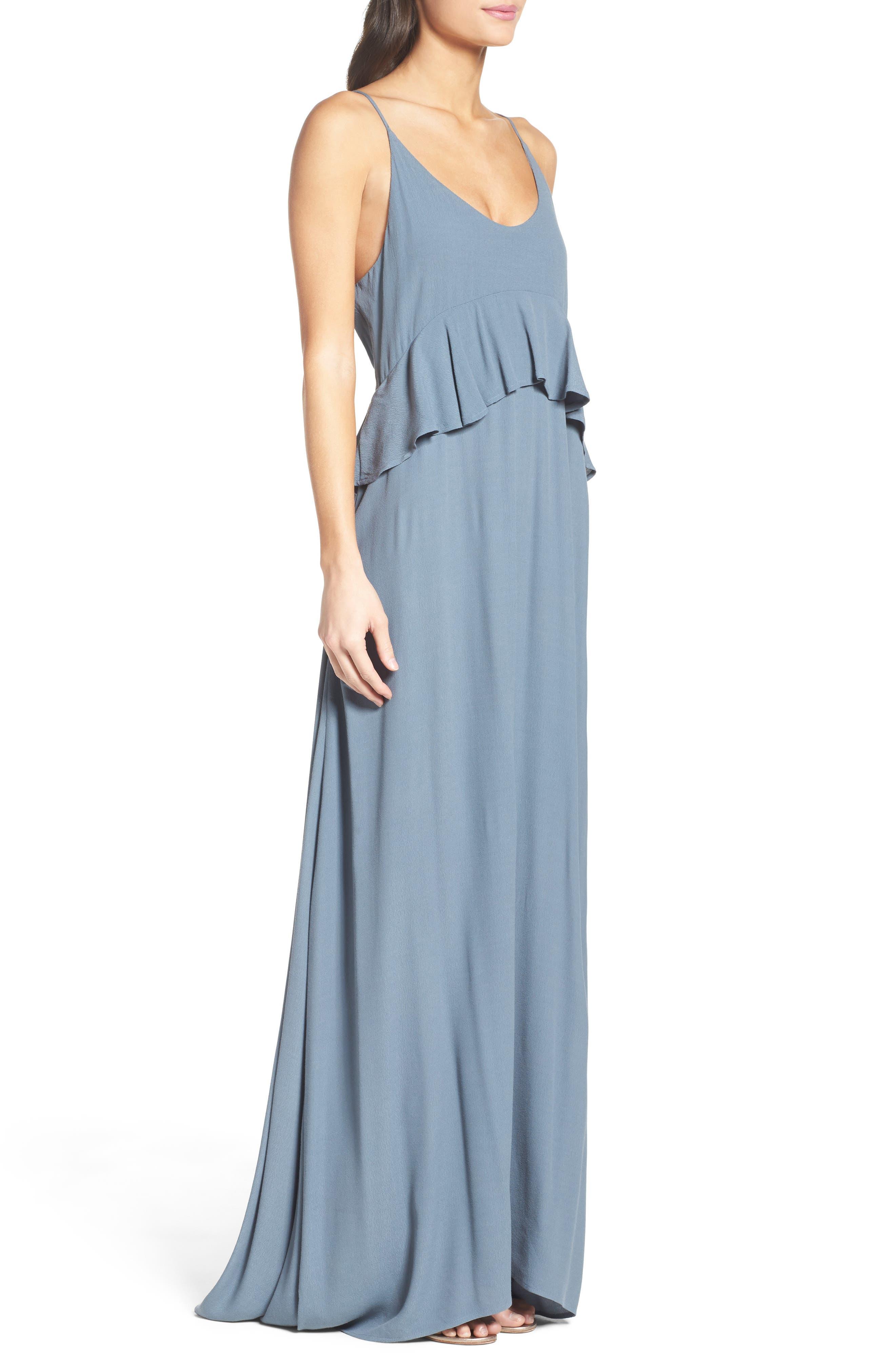 Roe + May Jolie Crepe Peplum Dress,                             Alternate thumbnail 6, color,