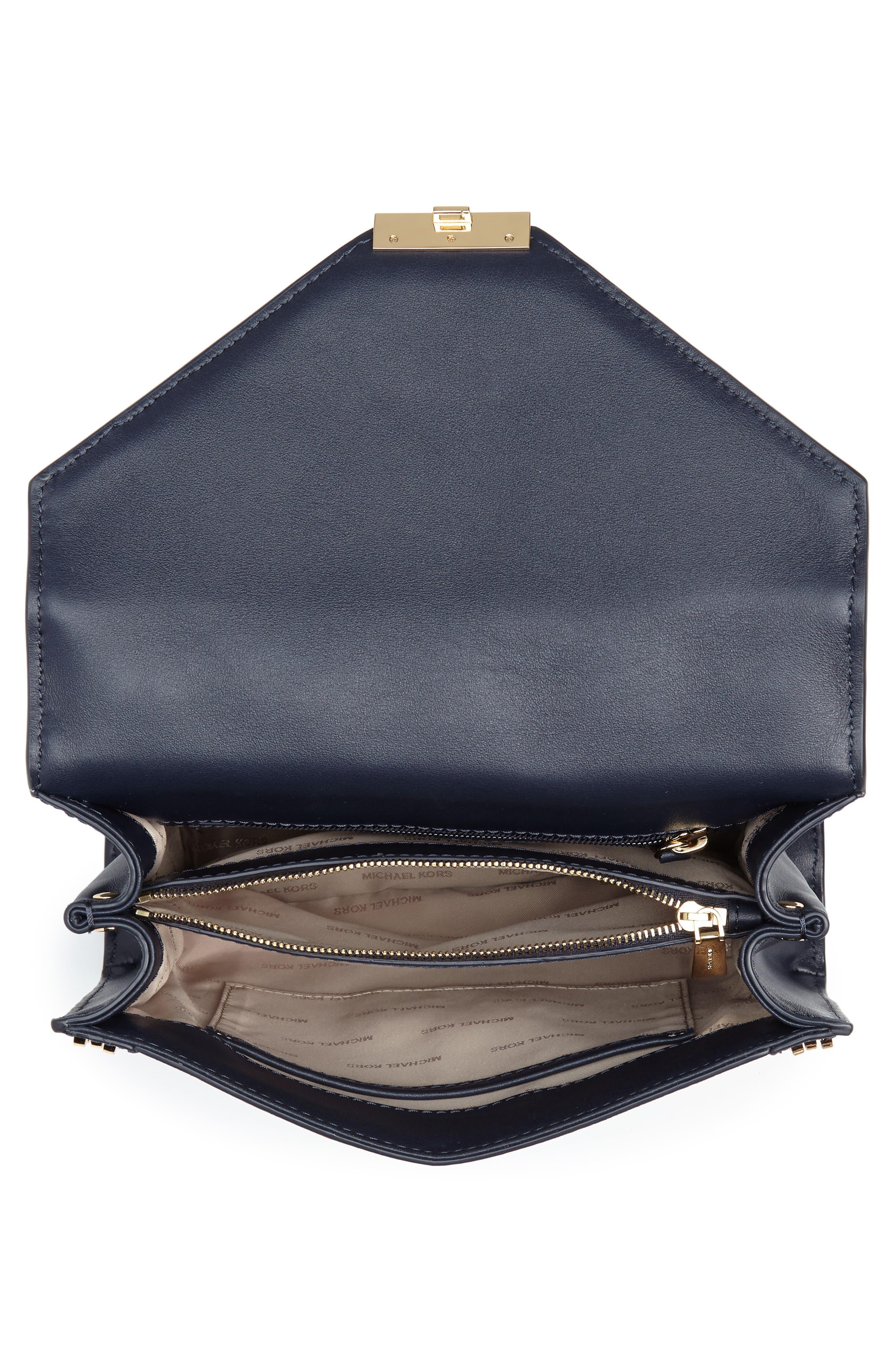 Large Embellished Leather Shoulder Bag,                             Alternate thumbnail 4, color,