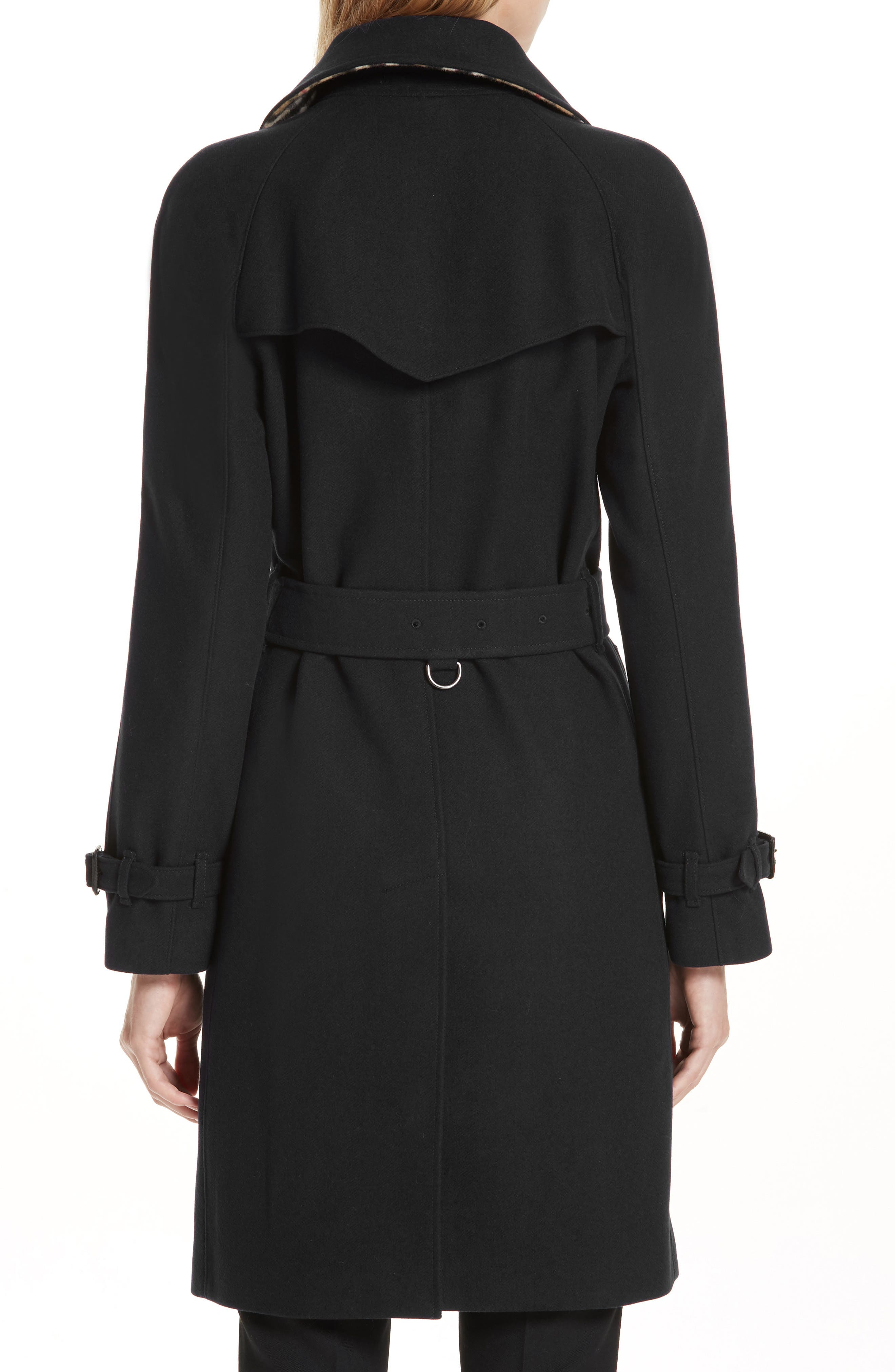 Cranston Wool Blend Trench Coat,                             Alternate thumbnail 2, color,                             BLACK