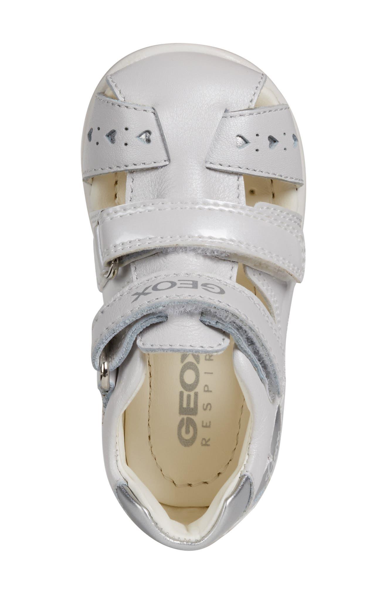 GEOX,                             Kaytan 52 Shimmery Sandal,                             Alternate thumbnail 5, color,                             WHITE/ SILVER