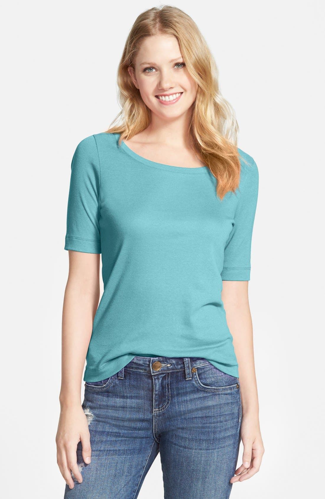 Ballet Neck Cotton & Modal Knit Elbow Sleeve Tee,                             Main thumbnail 58, color,
