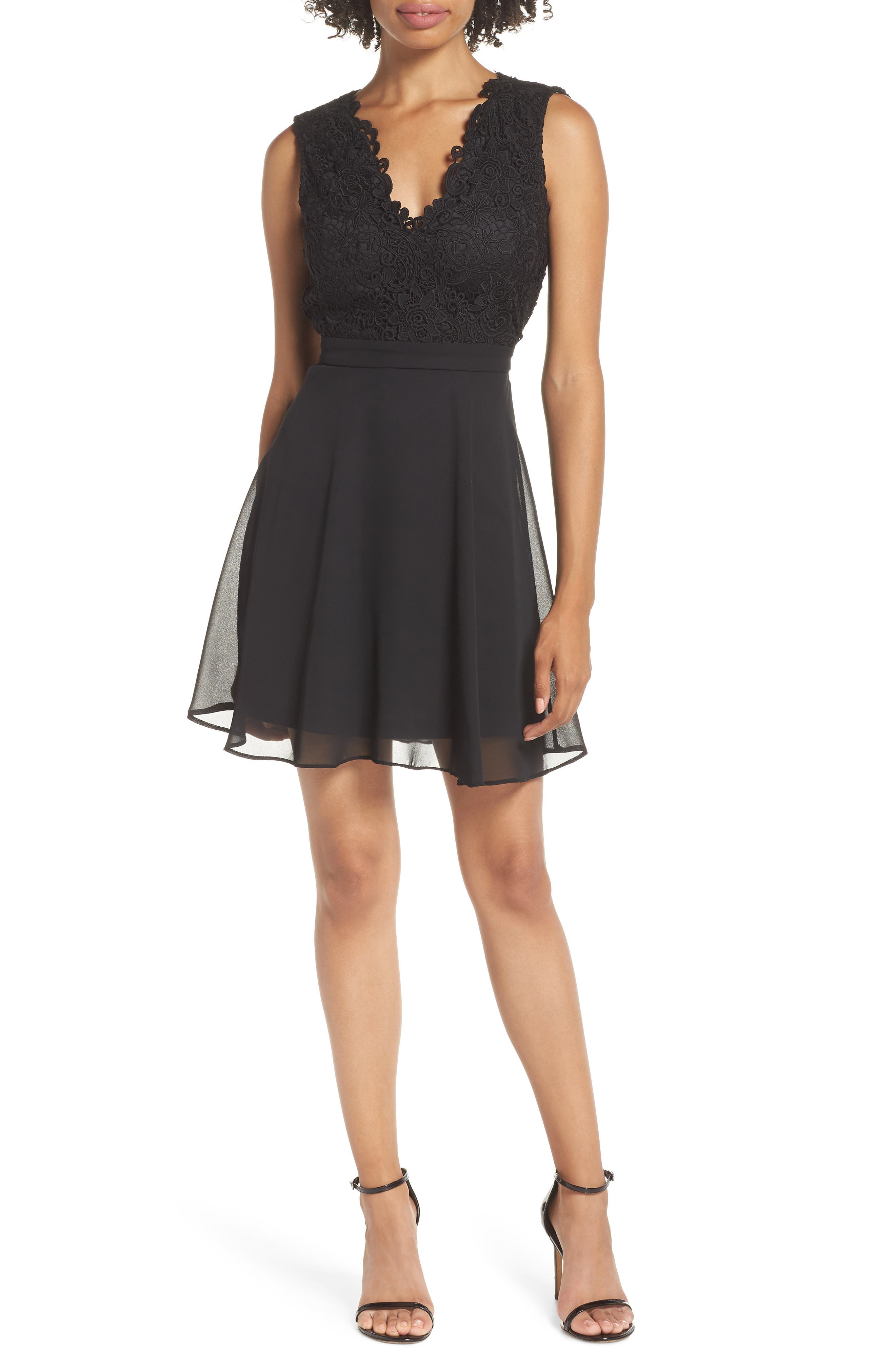 Lace & Chiffon Skater Dress,                             Main thumbnail 1, color,                             BLACK