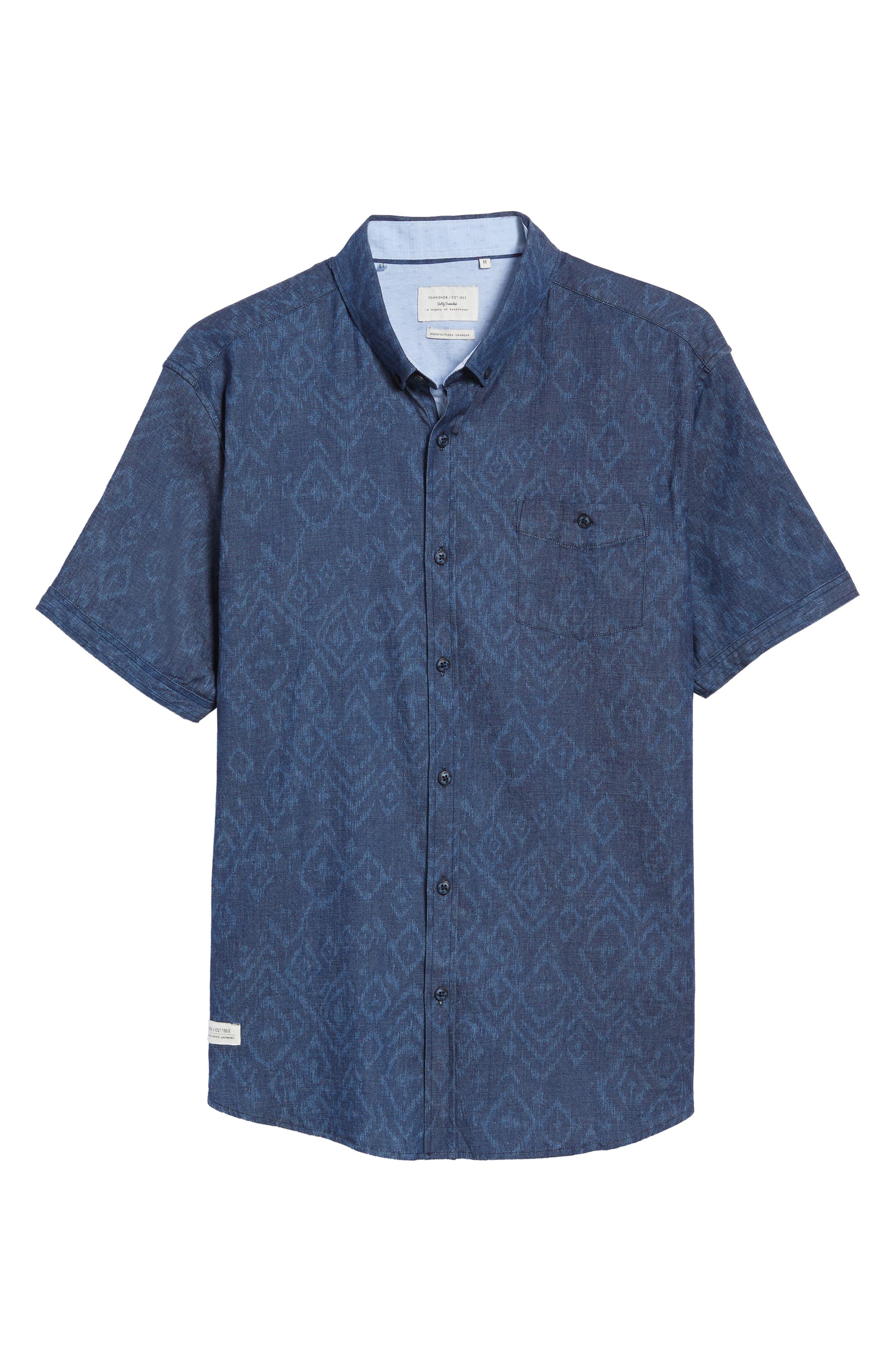 Marquee Moon Print Woven Shirt,                             Alternate thumbnail 6, color,                             410