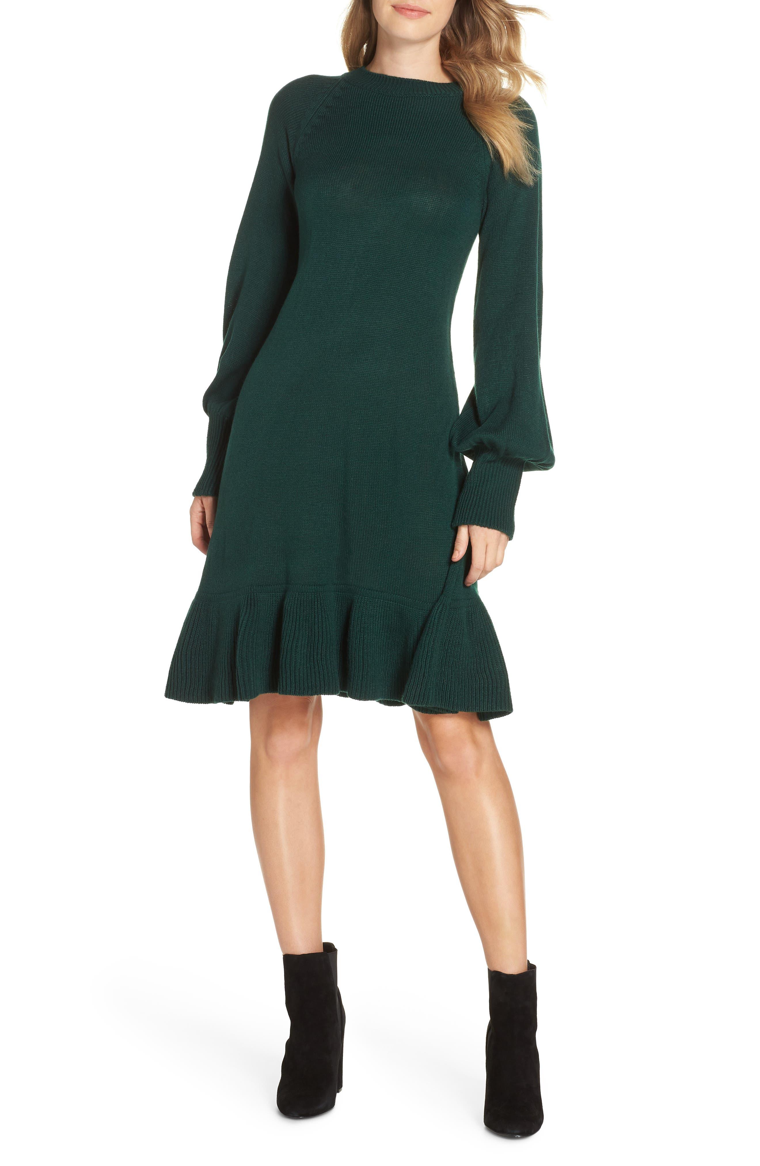 Eliza J Balloon Sleeve Sweater Dress, Green