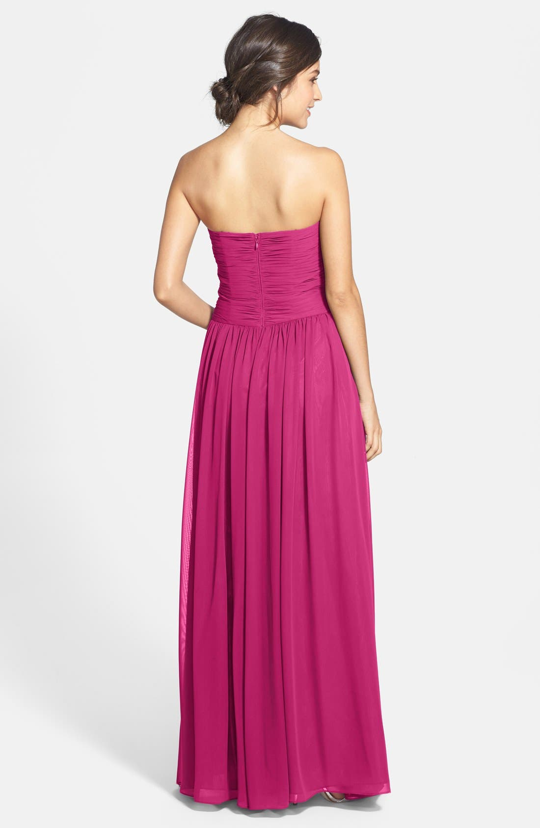 Strapless Ruched Chiffon Gown,                             Alternate thumbnail 16, color,
