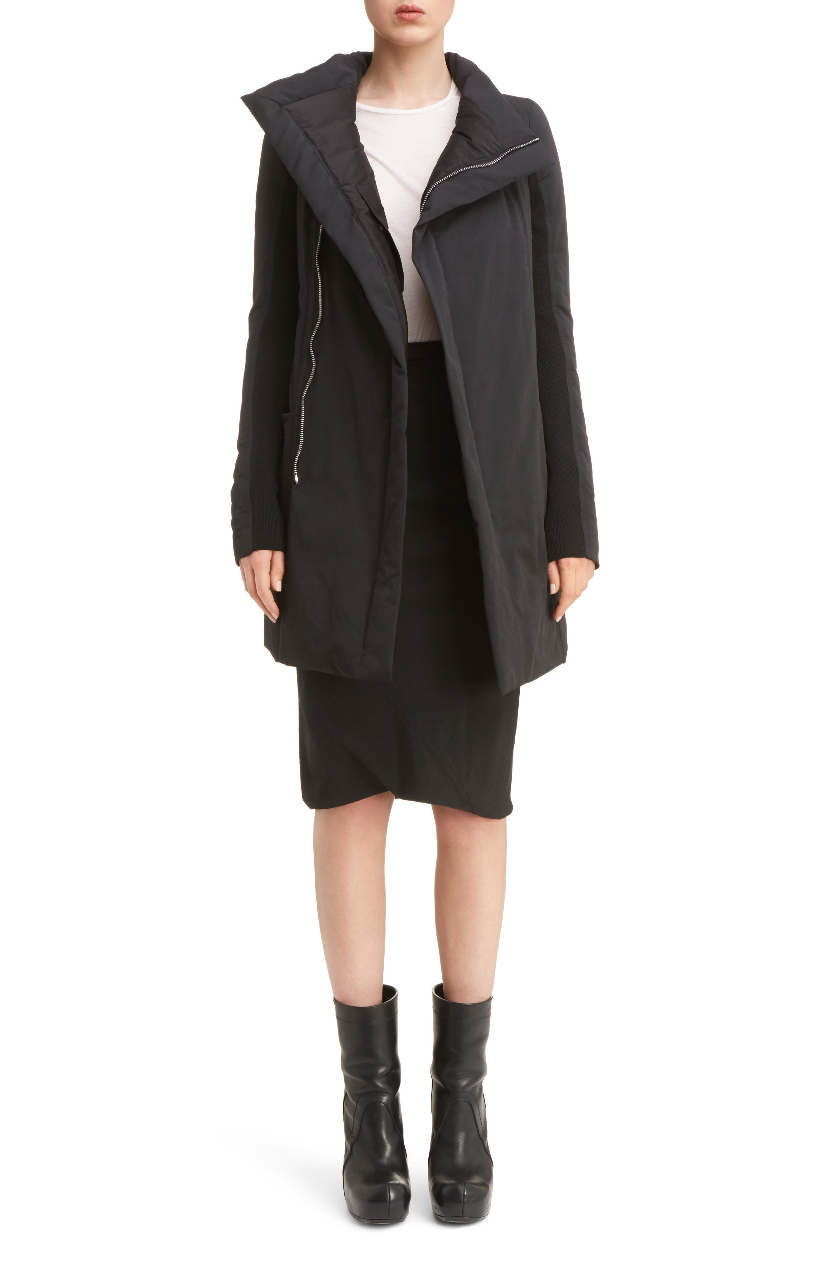 Fitted Down Coat,                             Alternate thumbnail 6, color,                             009