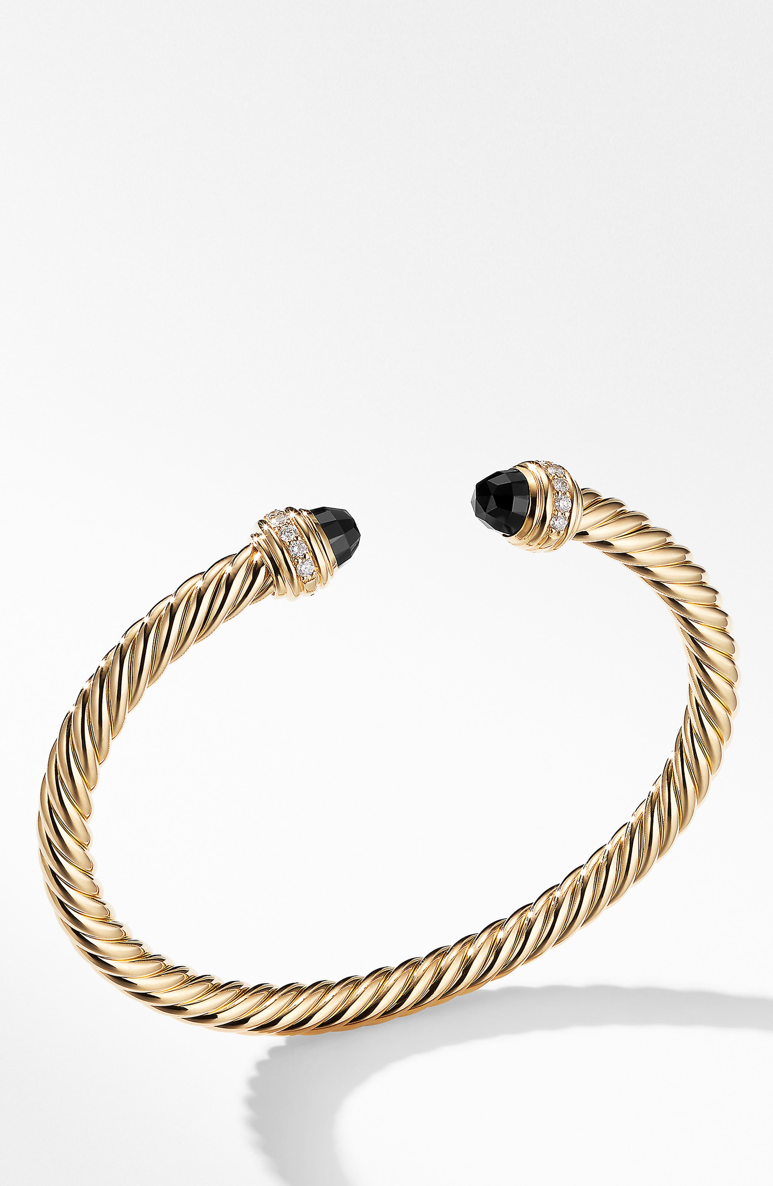 Cable Classics Bracelet with Semiprecious Stones & Diamonds, 5mm,                         Main,                         color, YELLOW GOLD/ DIAMOND/ BLACK