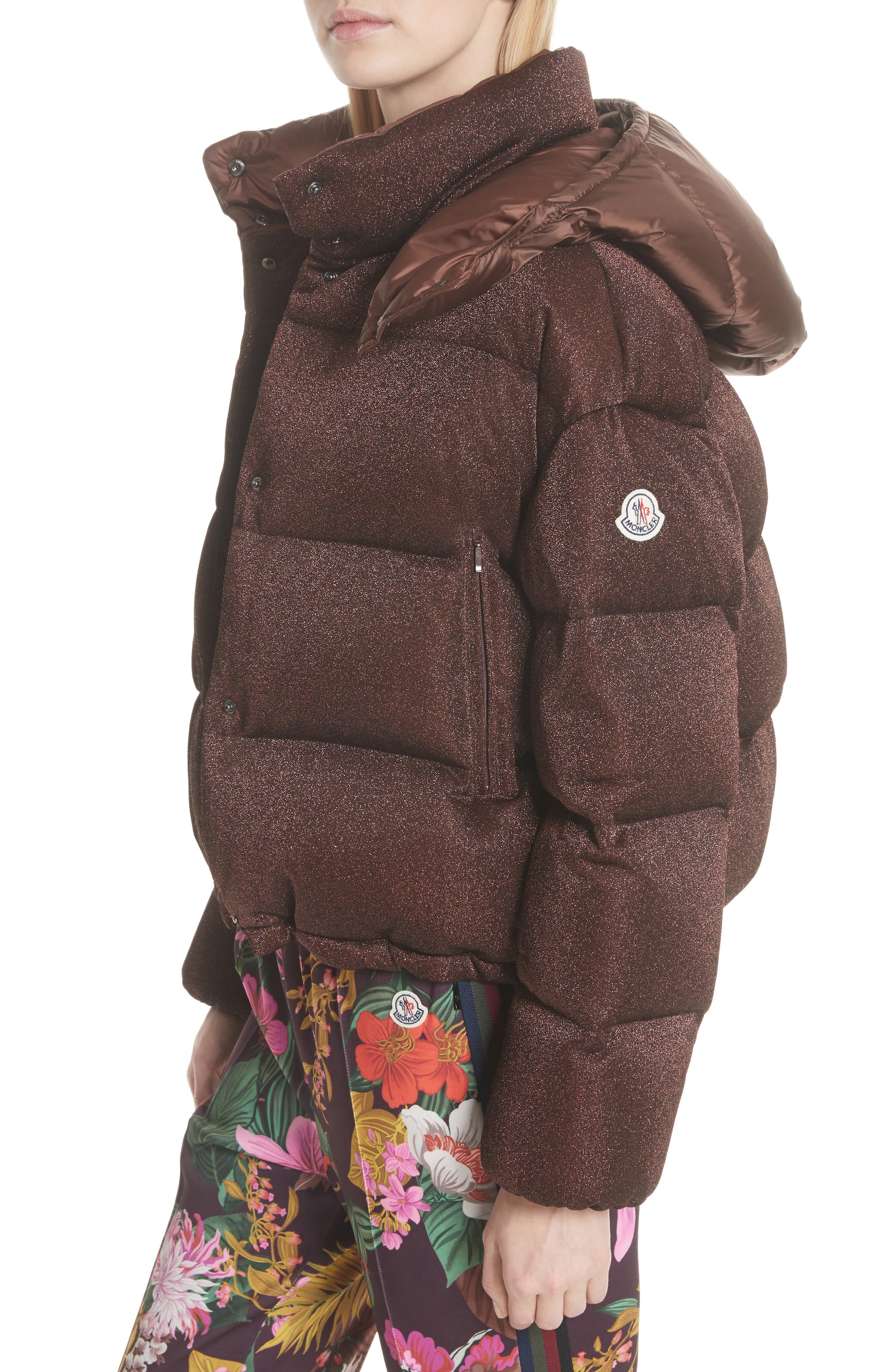 Caille Metallic Quilted Down Jacket,                             Alternate thumbnail 5, color,                             BROWN LUREX