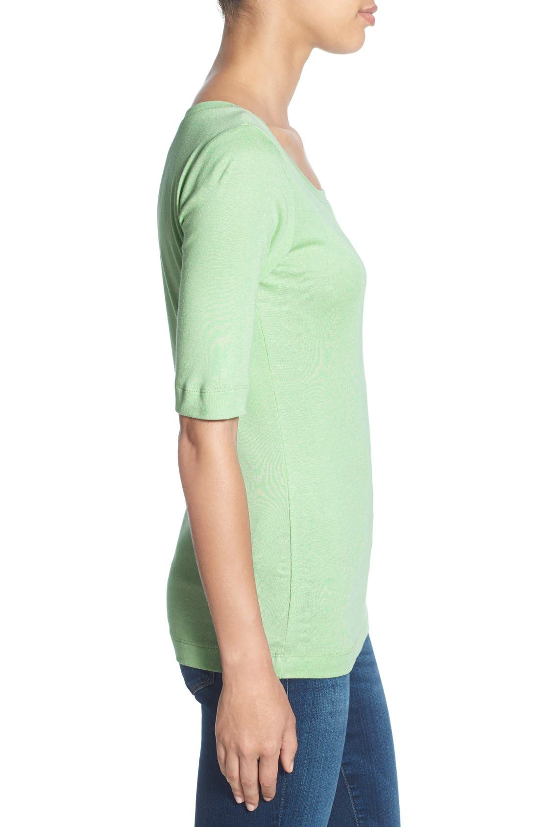Ballet Neck Cotton & Modal Knit Elbow Sleeve Tee,                             Alternate thumbnail 130, color,