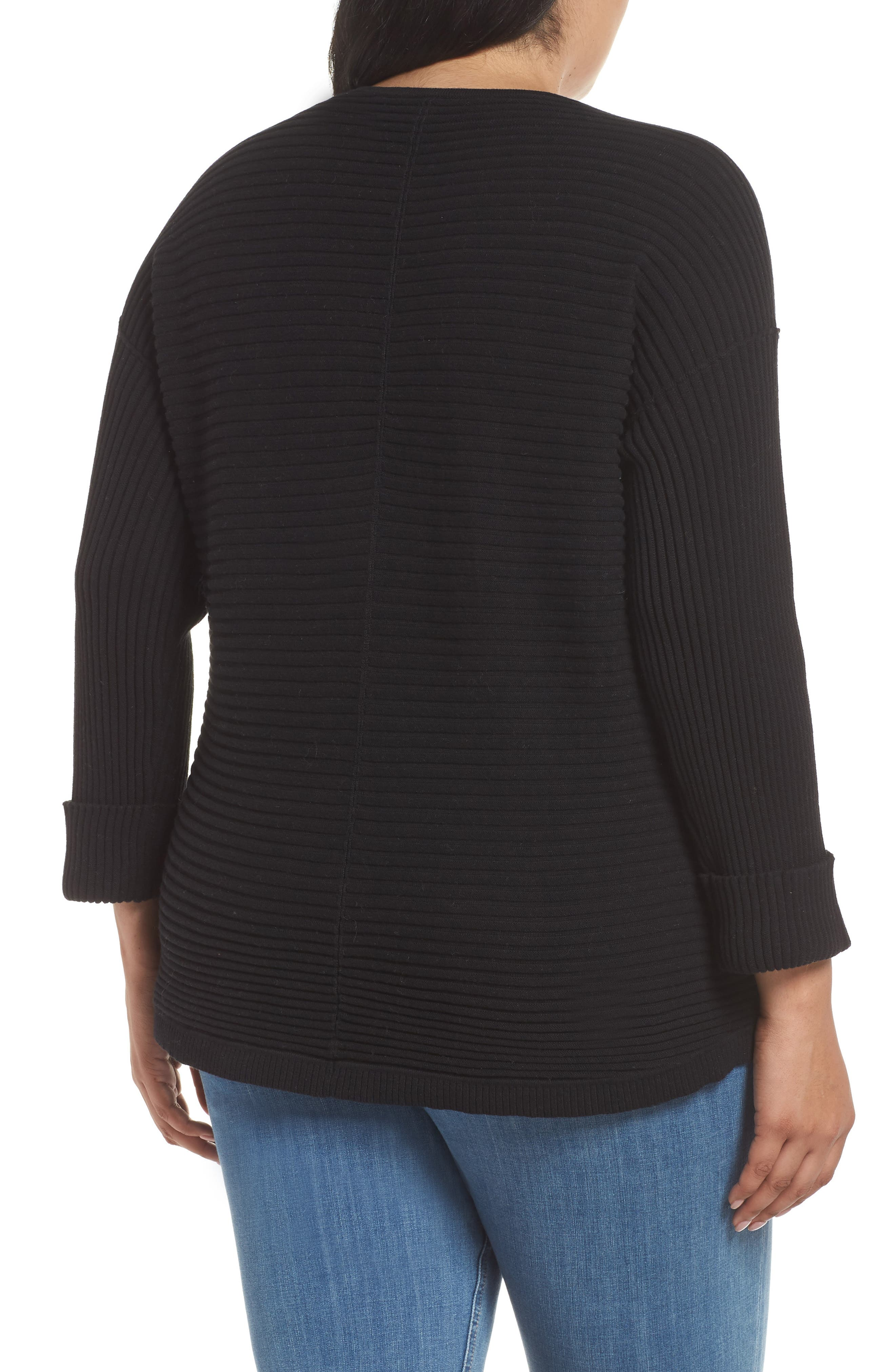 Cuff Sleeve Ribbed Sweater,                             Alternate thumbnail 2, color,                             BLACK