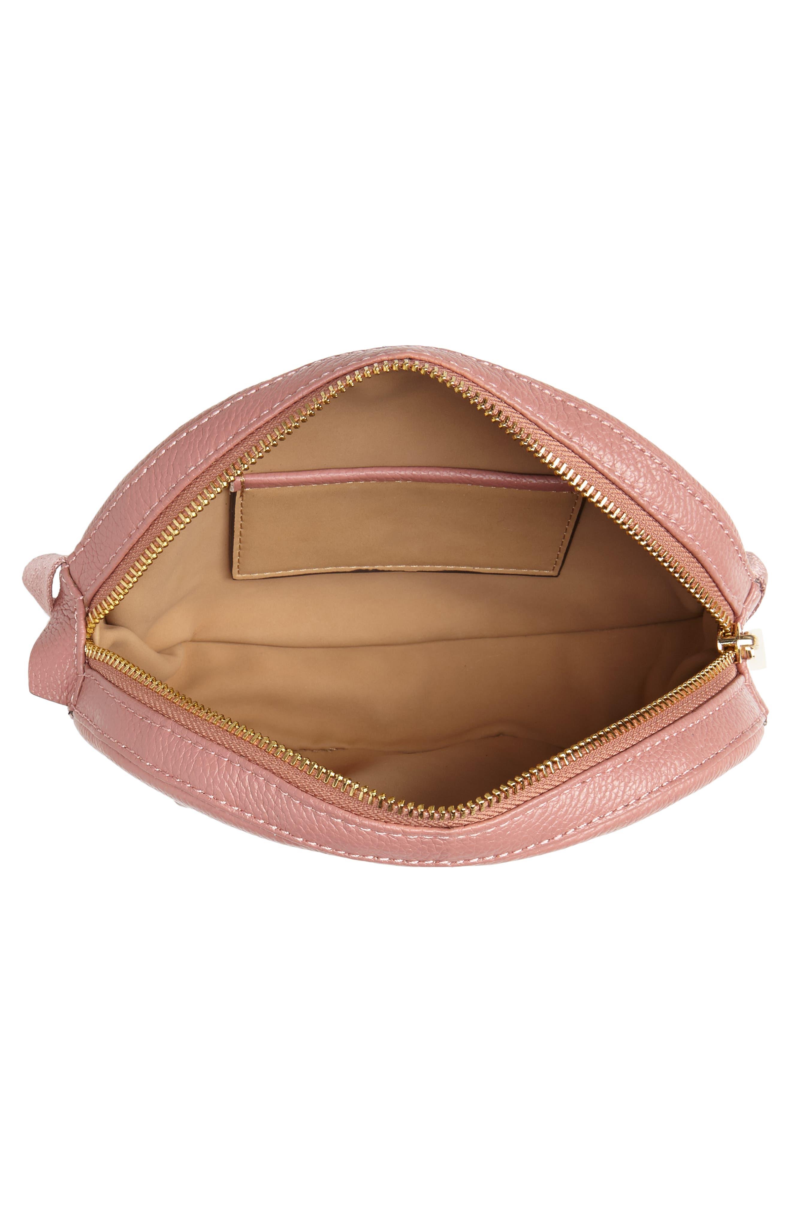 Studded Logo Leather Belt Bag,                             Alternate thumbnail 5, color,                             ROSE/ ROSE
