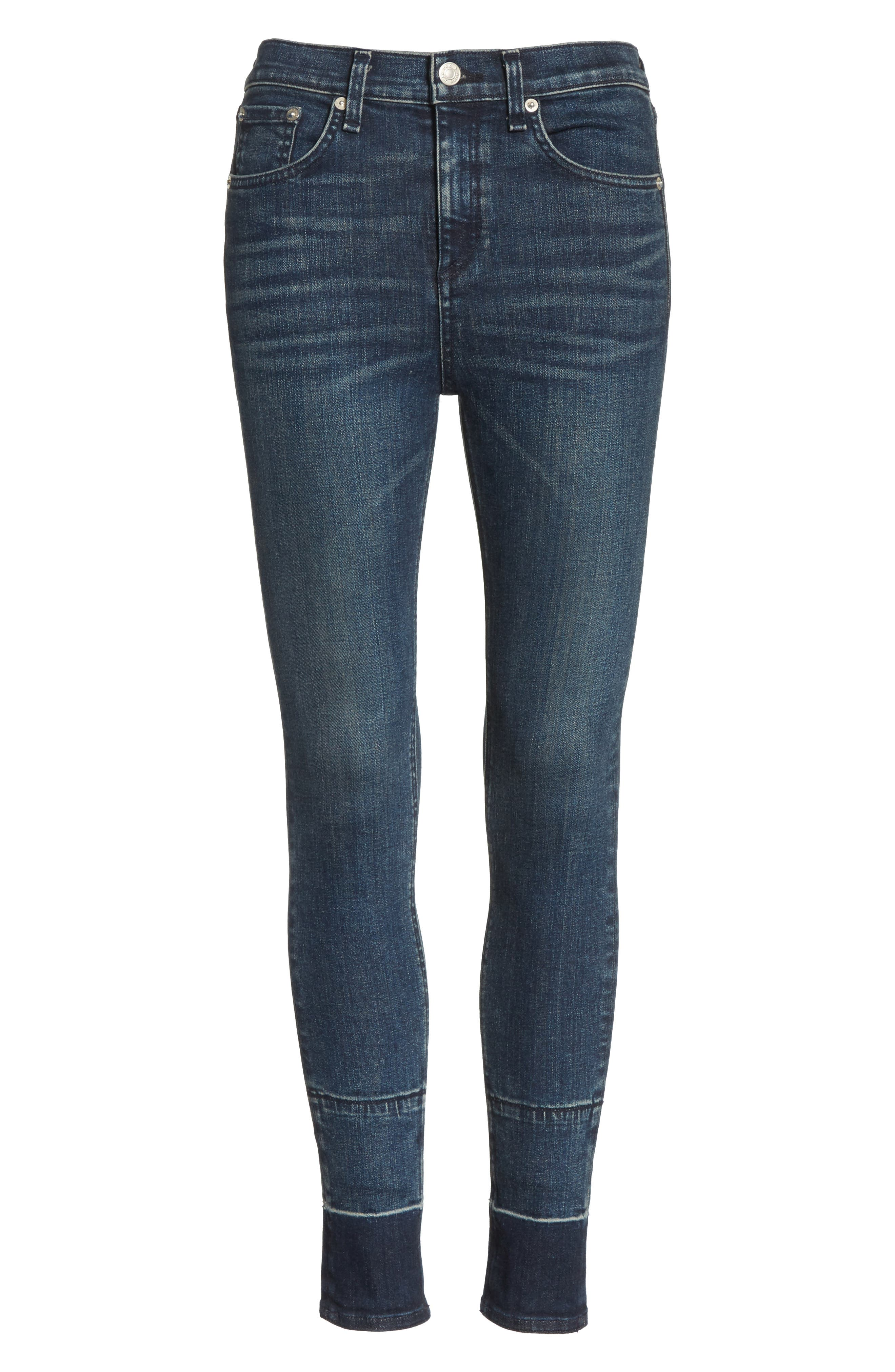 High Waist Ankle Skinny Jeans,                             Alternate thumbnail 7, color,                             401