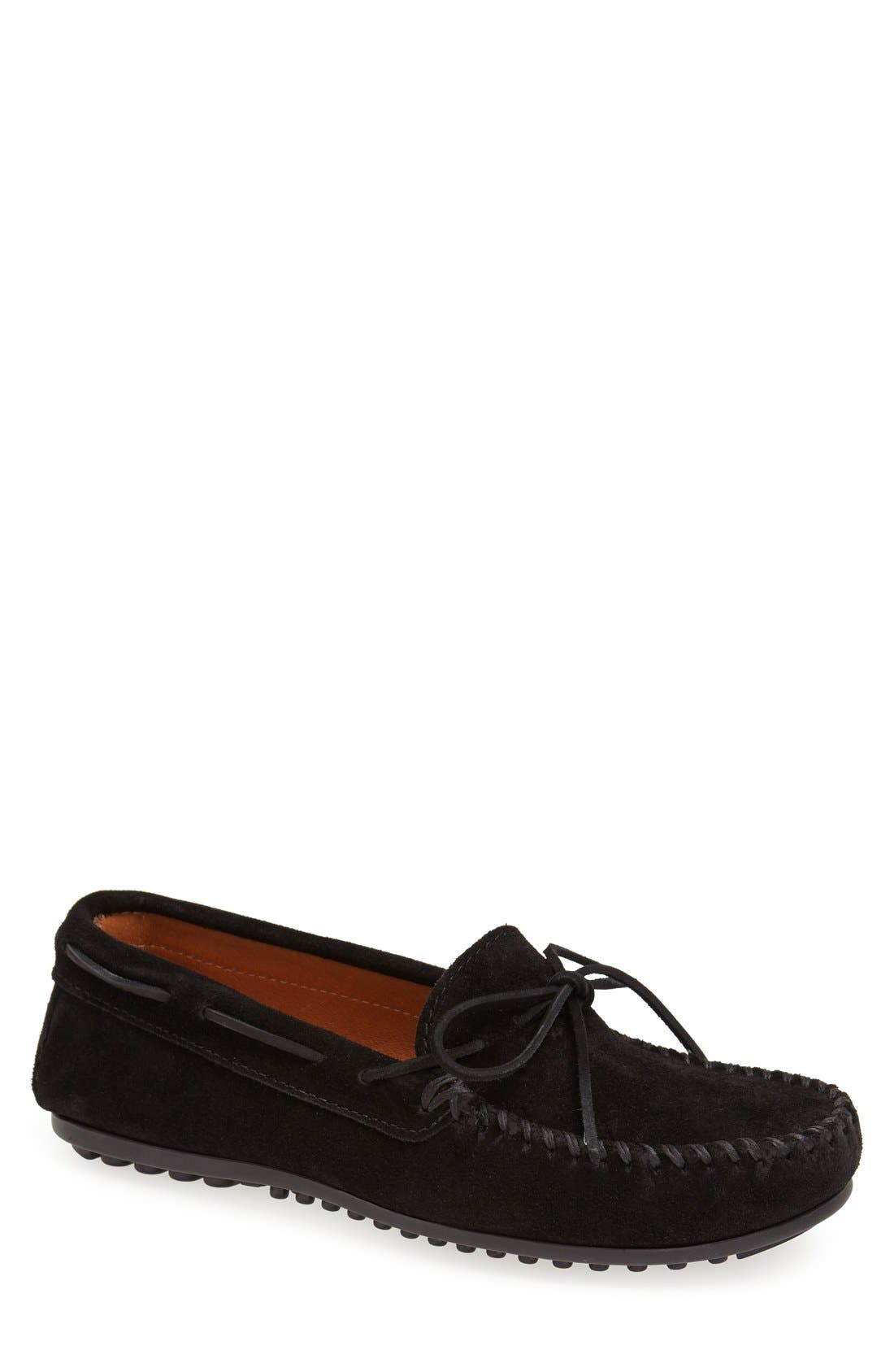 Suede Moccasin,                             Main thumbnail 1, color,                             BLACK