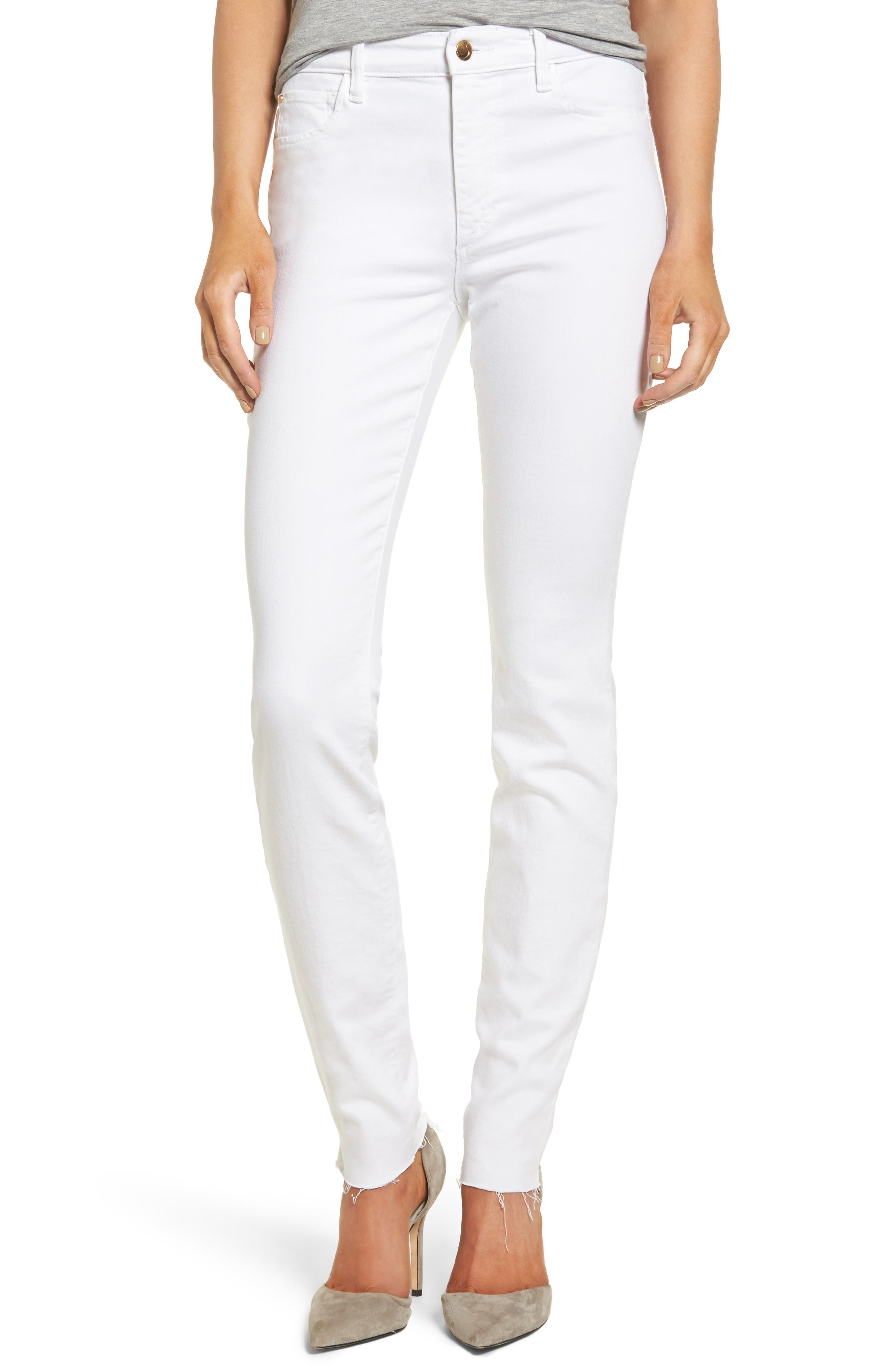 Charlie Raw Hem High Rise Skinny Jeans,                         Main,                         color, 120