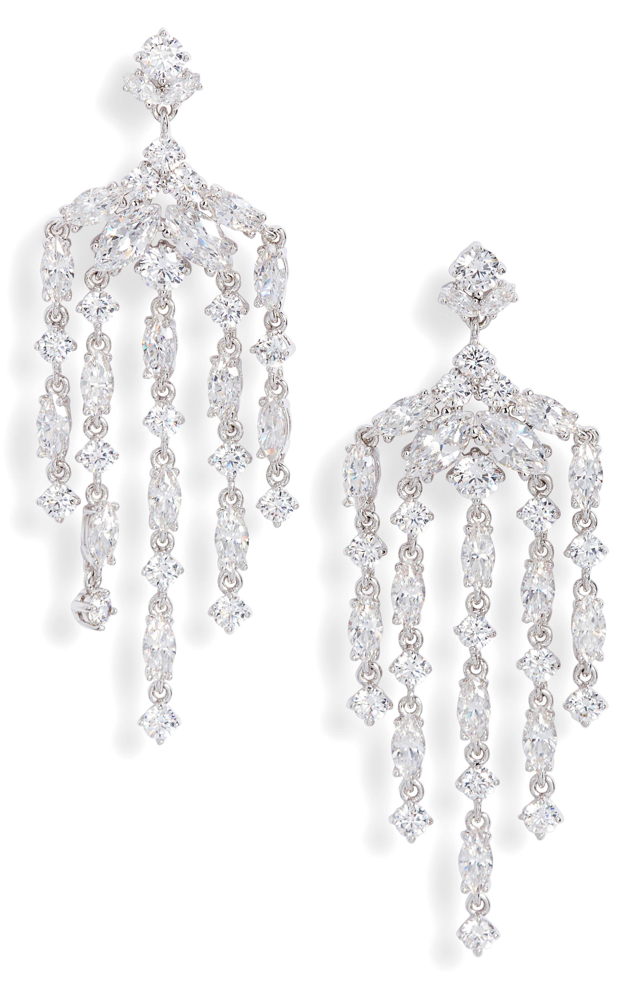 Waterfall Chandelier Earrings, Main, color, CLEAR- SILVER