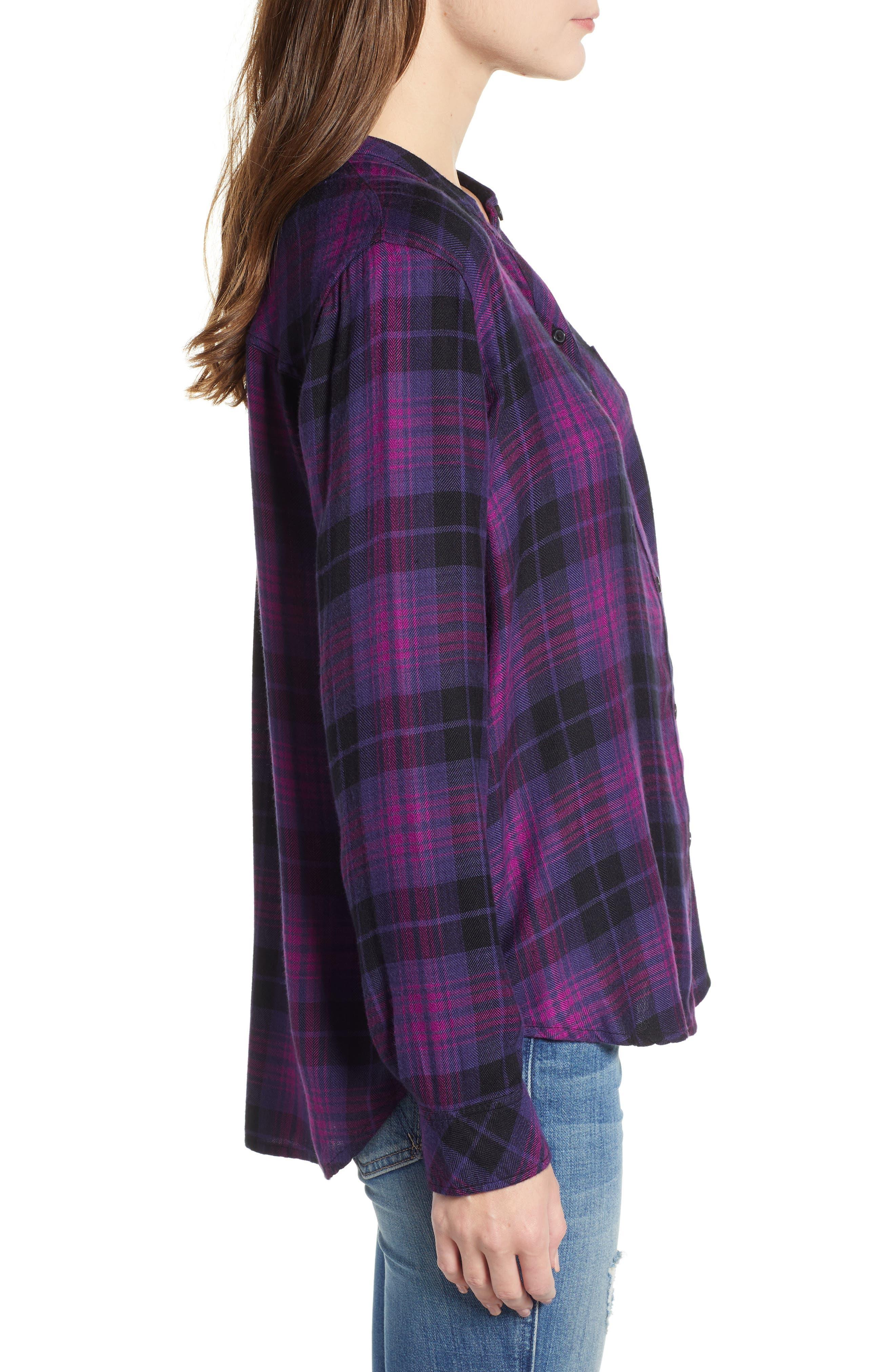 Allison Plaid Shirt,                             Alternate thumbnail 3, color,                             MAGENTA IRIS BLACK