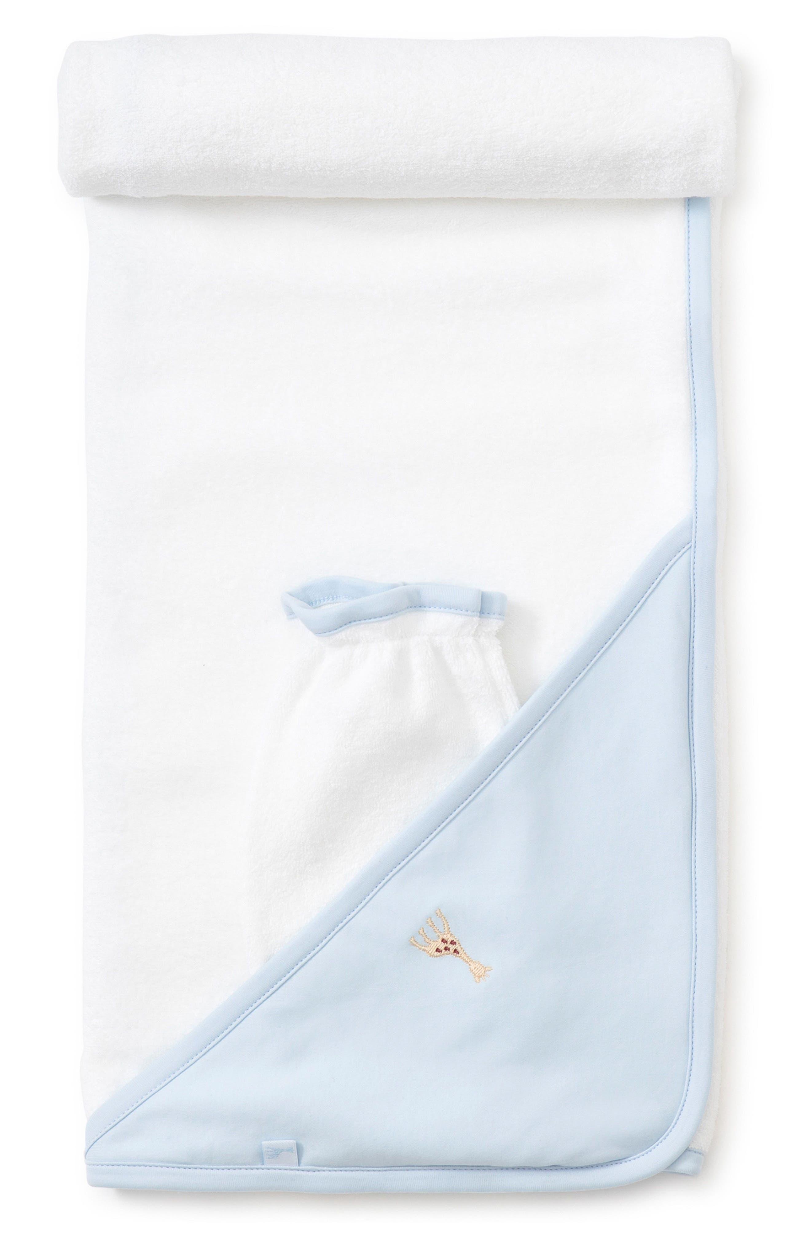 KISSY KISSY x Sophie la Girafe Hooded Towel & Bath Mitt Set, Main, color, WHITE/ LIGHT BLUE