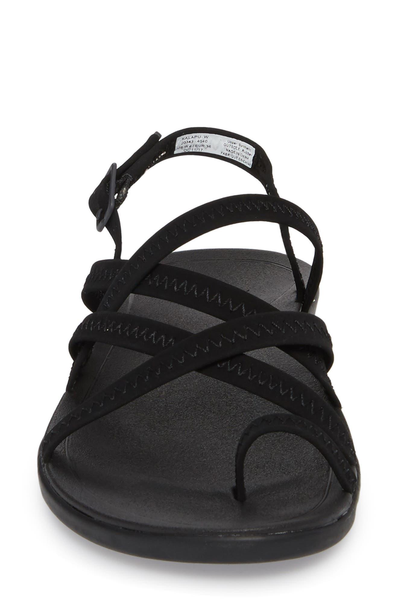 Kalapu Sandal,                             Alternate thumbnail 4, color,                             BLACK/ BLACK FAUX LEATHER