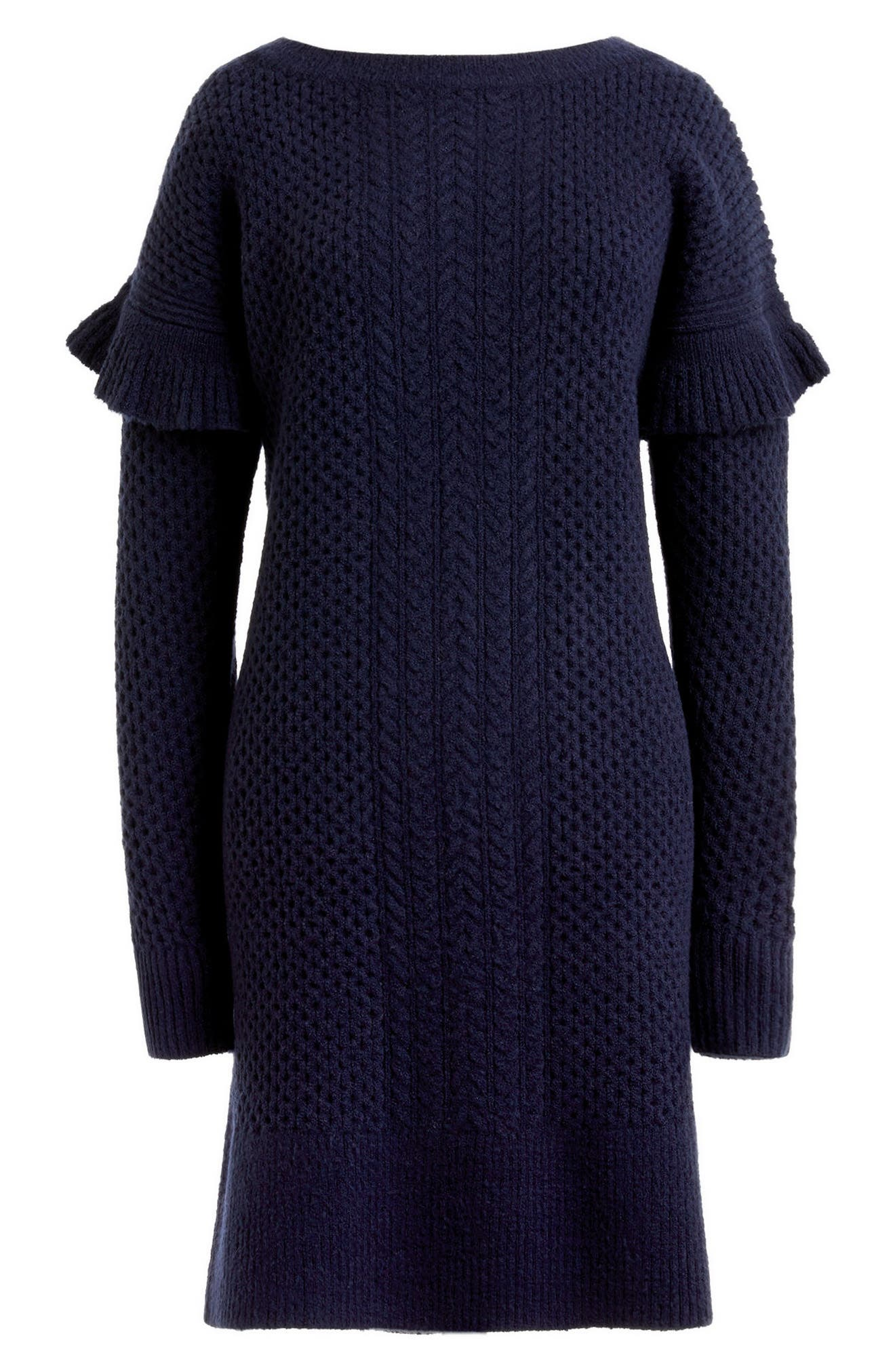 Holden Ruffle Sleeve Cable Knit Sweater Dress,                             Alternate thumbnail 4, color,                             400