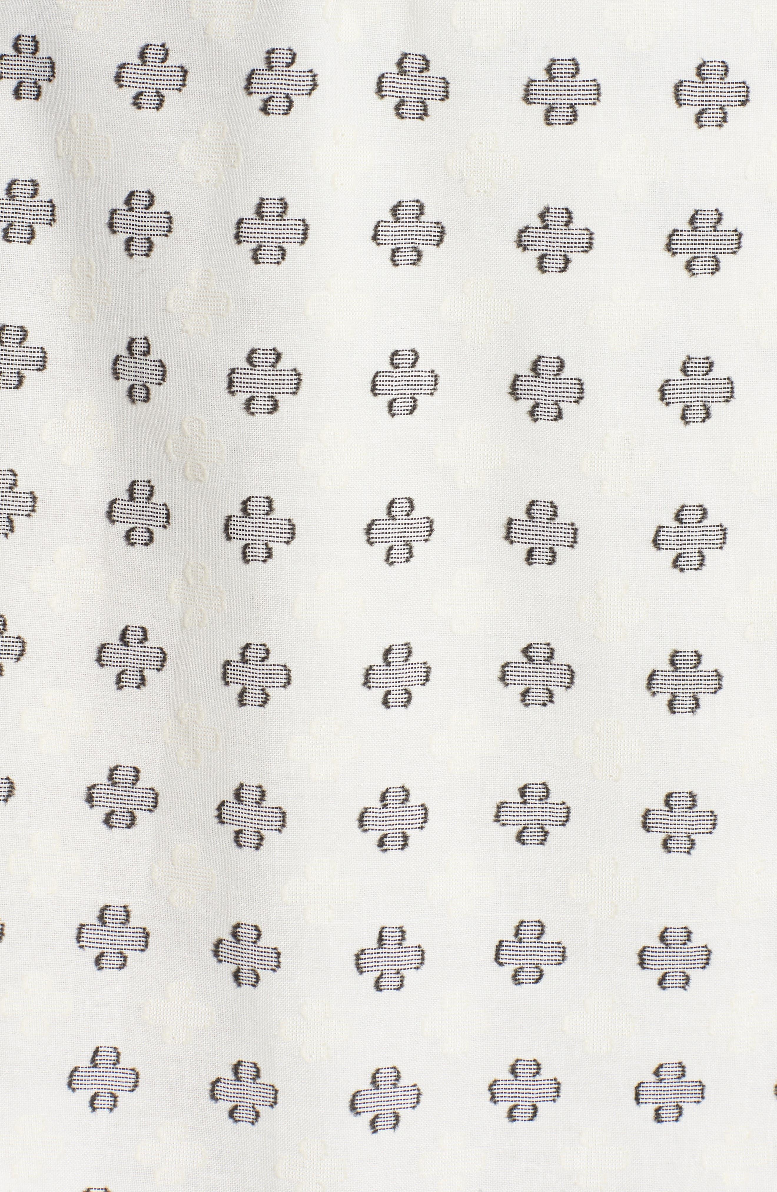 Ruth Wrap Minidress,                             Alternate thumbnail 6, color,                             BLACK AND WHITE CLOVER