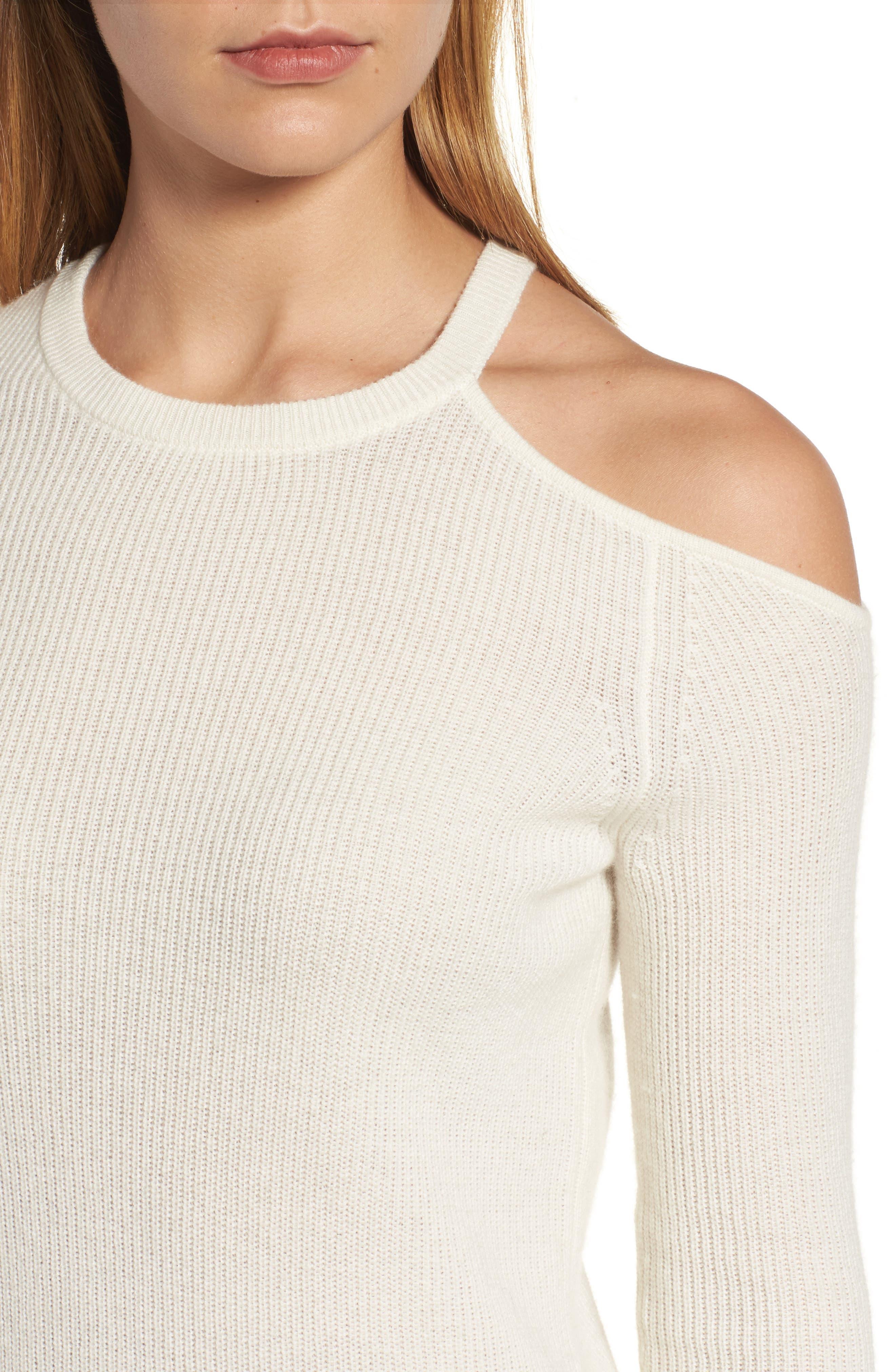 Cold Shoulder Cashmere Sweater,                             Alternate thumbnail 4, color,                             905
