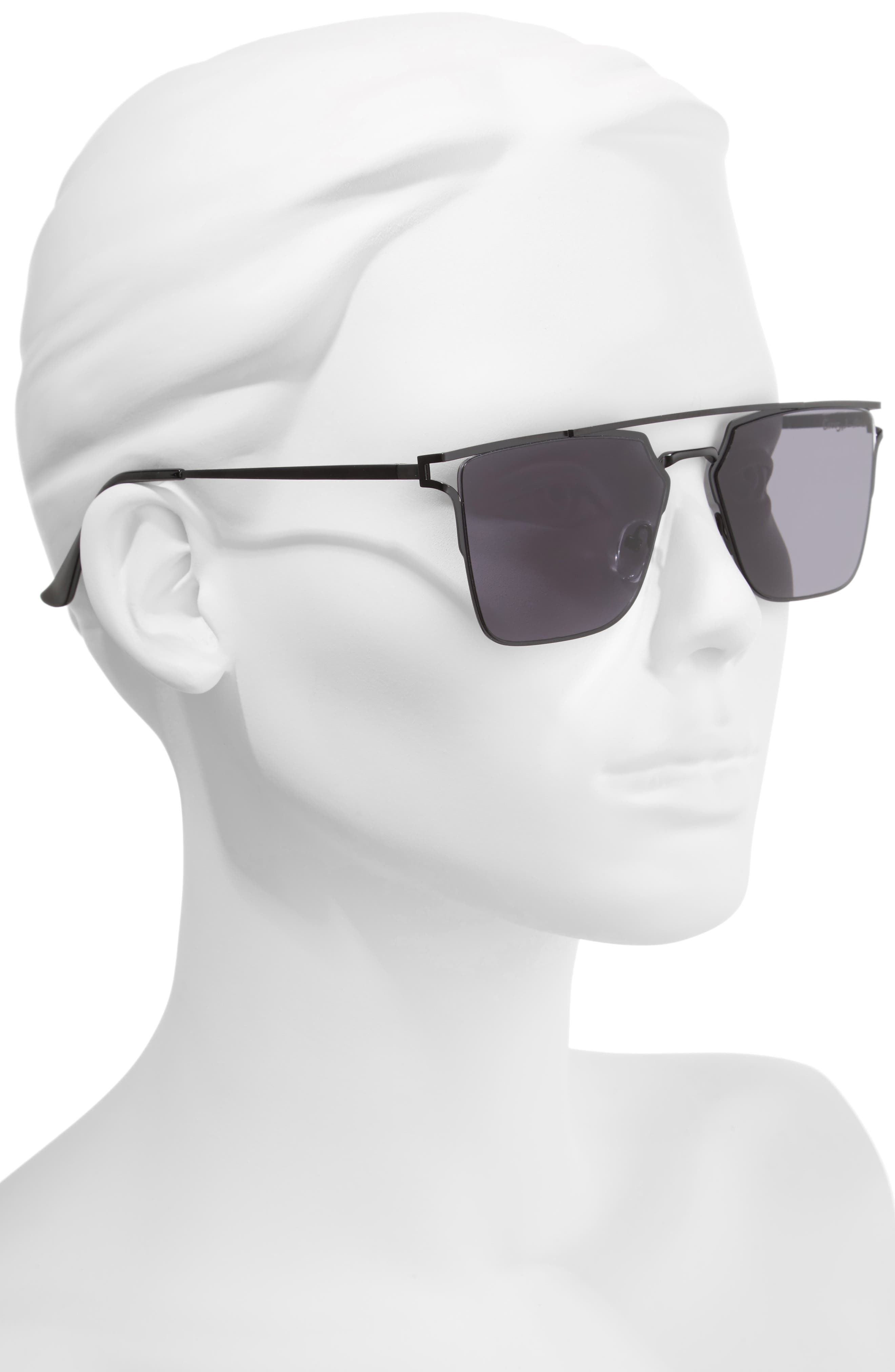 56mm Flat Top Sunglasses,                             Alternate thumbnail 2, color,                             001